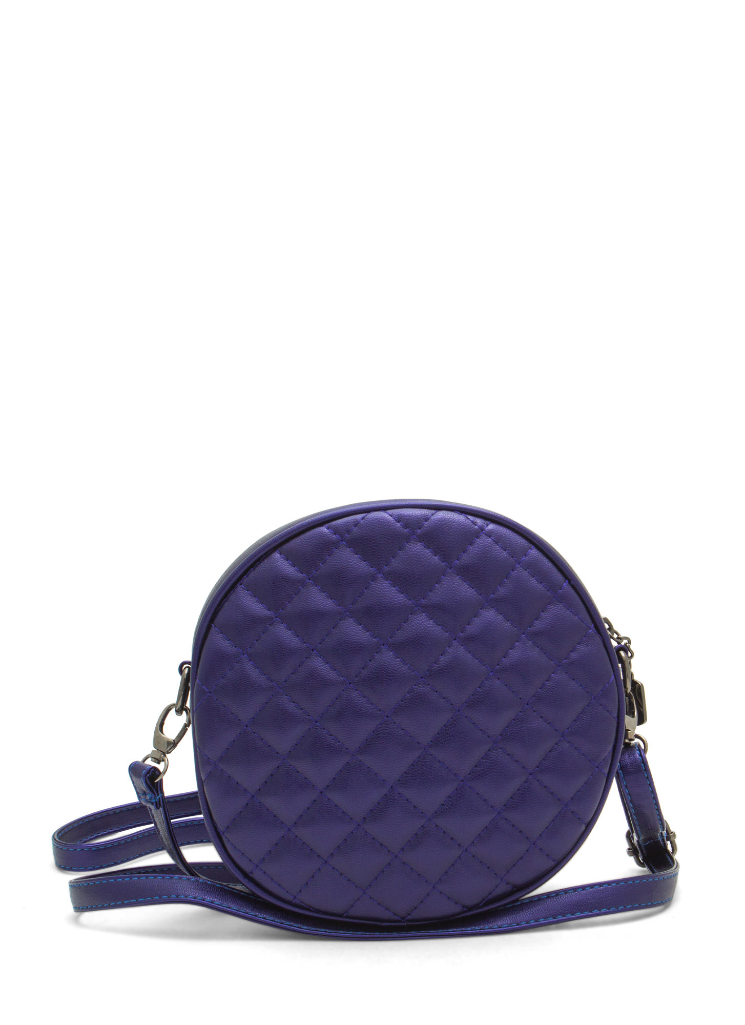 Shiny Round Quilted Clutch BLUE
