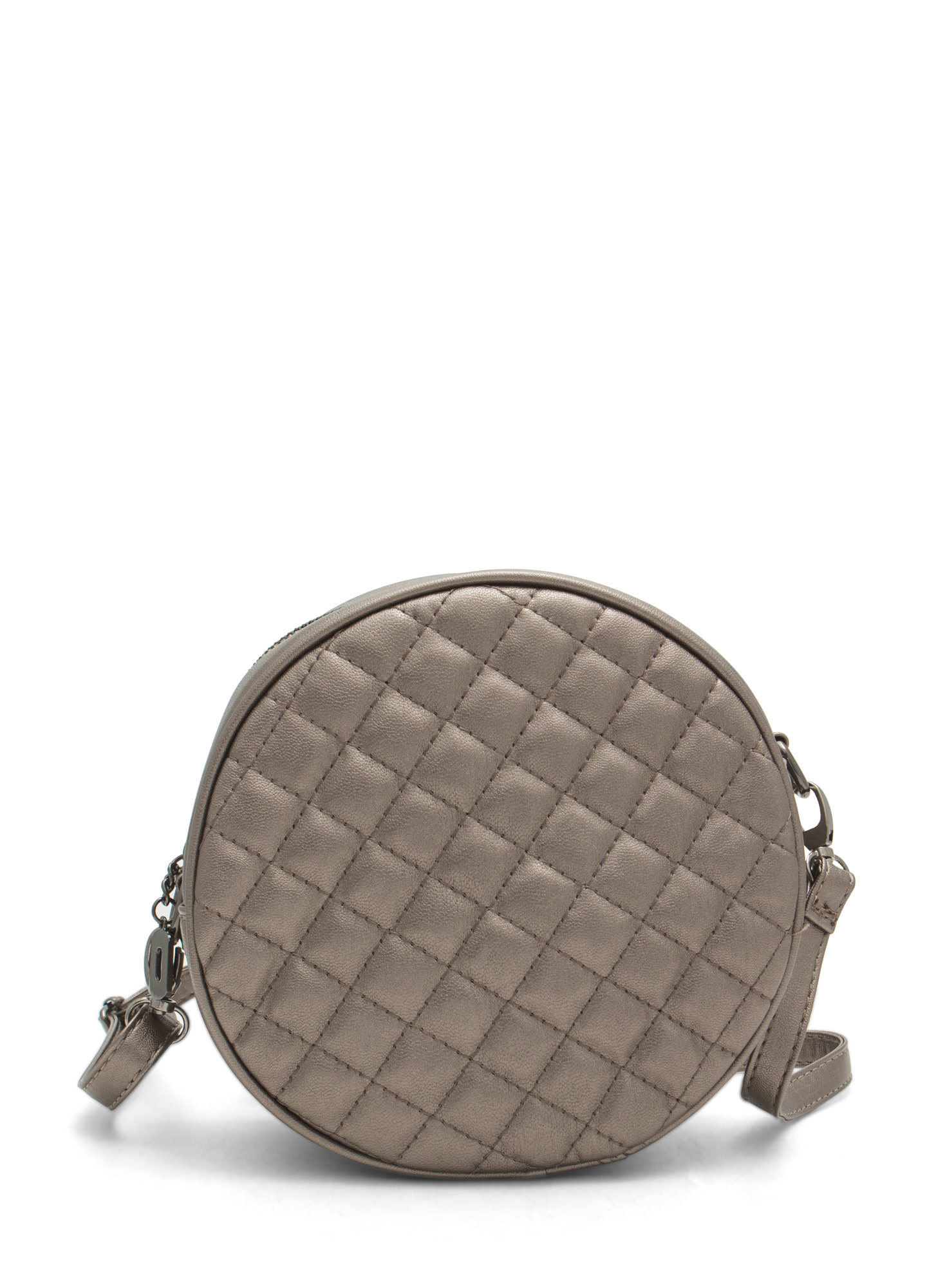 Shiny Round Quilted Clutch PEWTER