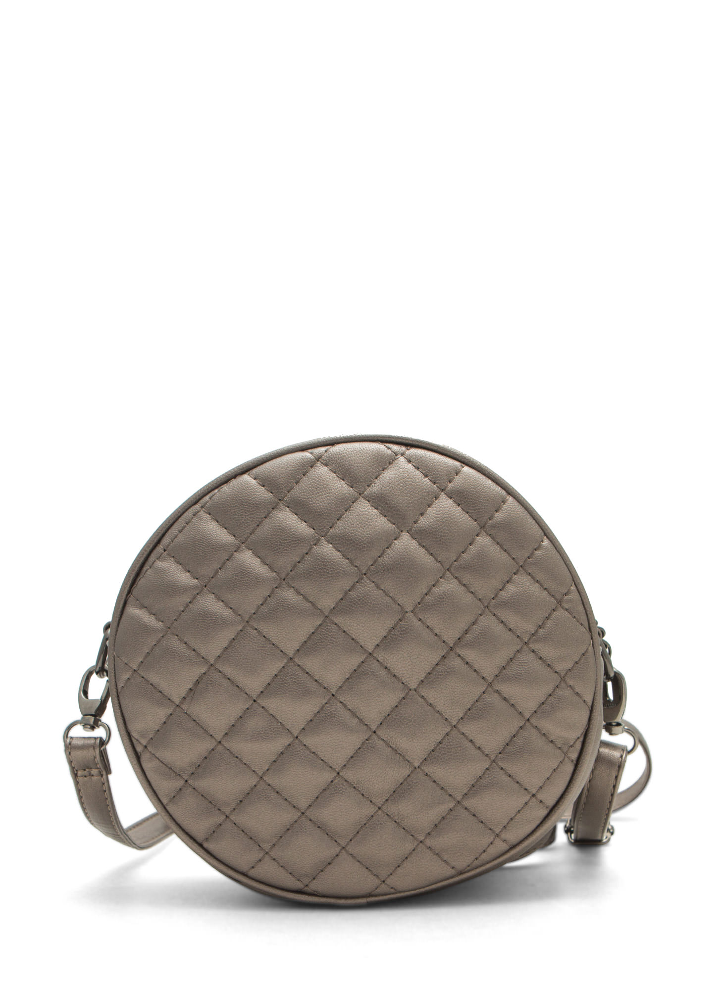 Shiny Round Quilted Clutch PEWTER (Final Sale)