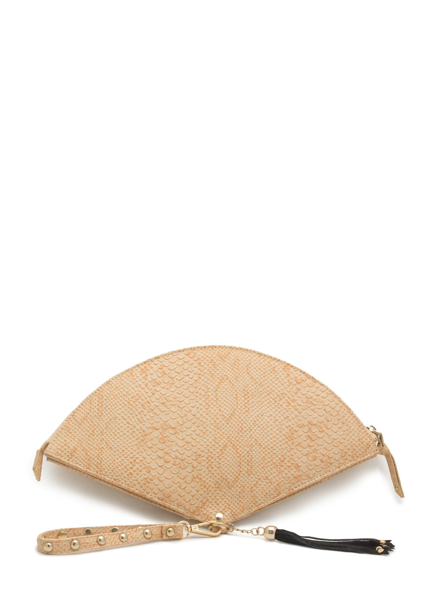 Tasseled Fan Studded Clutch BEIGE
