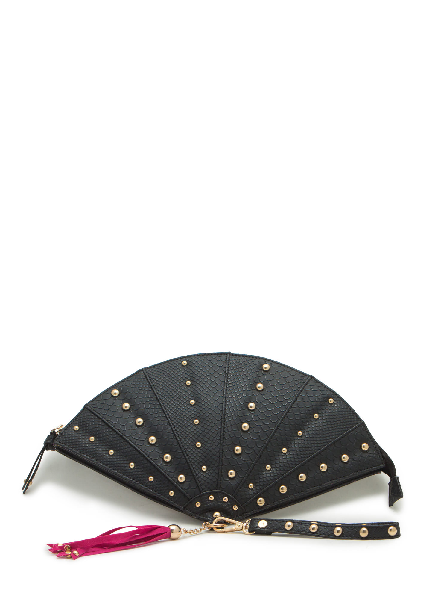 Tasseled Fan Studded Clutch BLACK