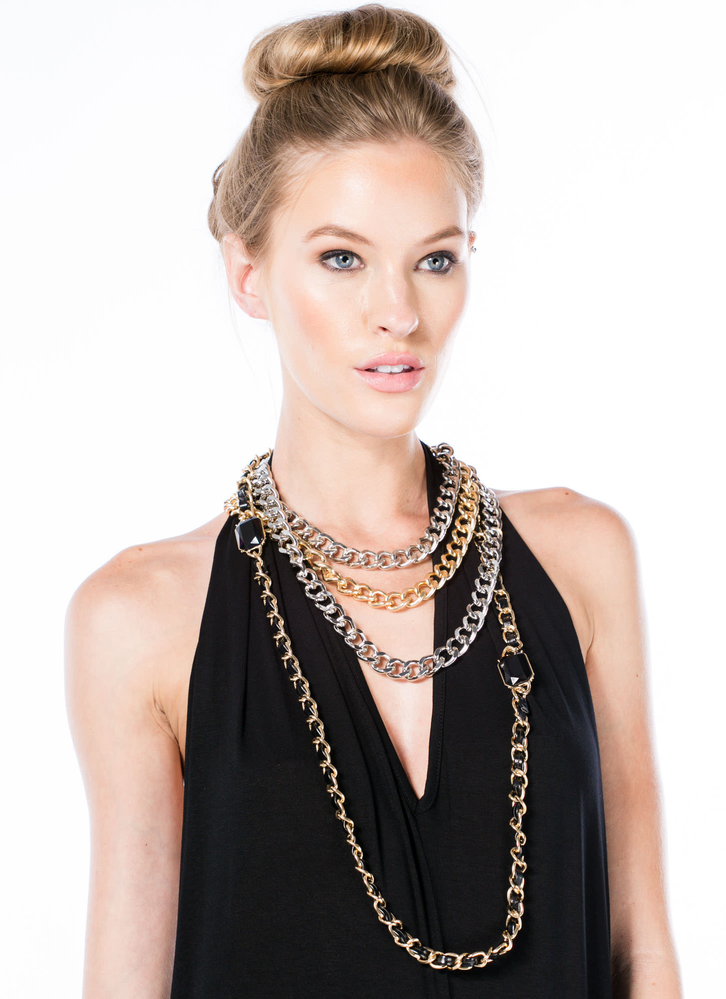 Layered Chunky Chain Necklace Set MULTI
