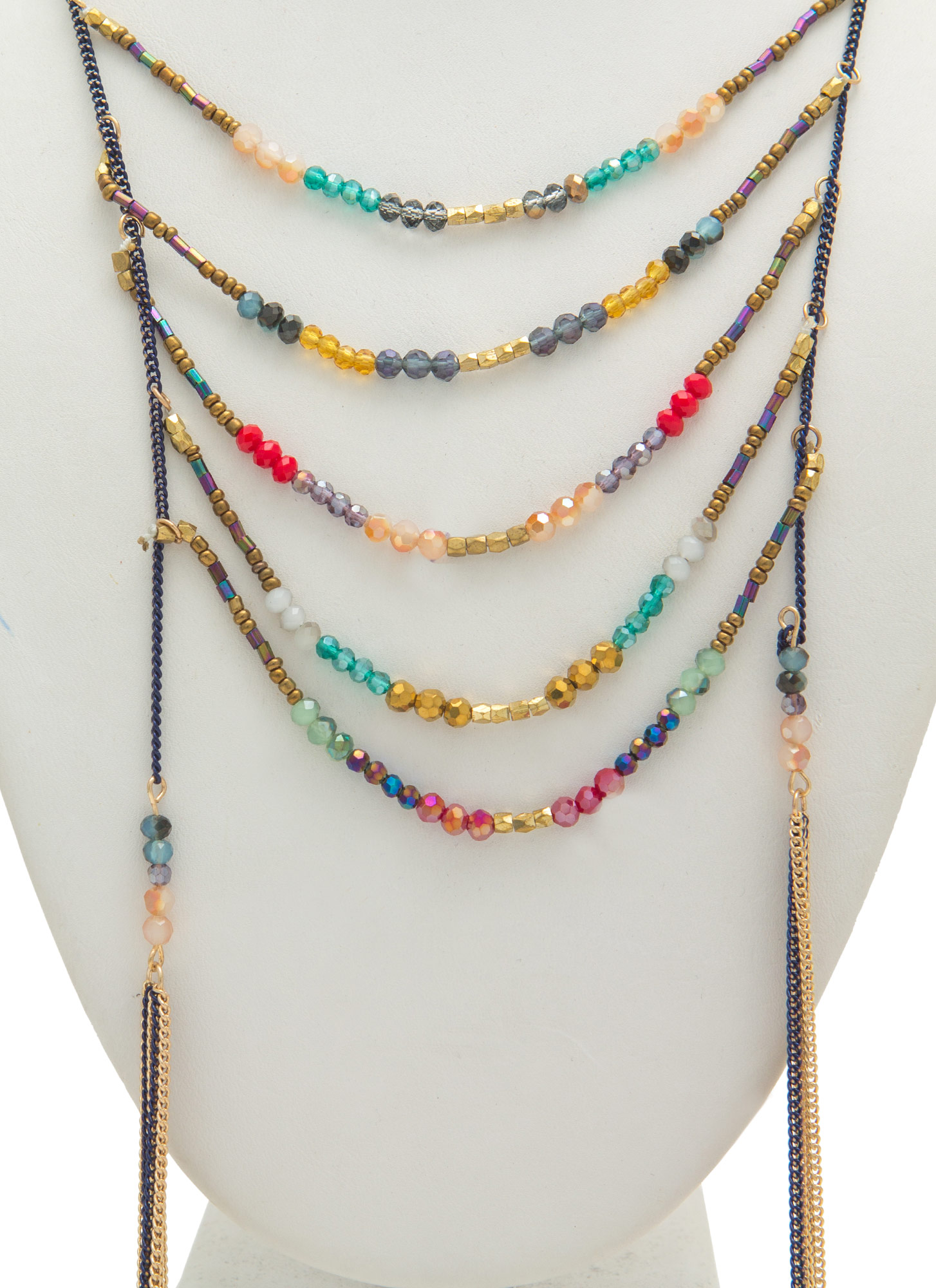 Tasseled Ladder Beaded Necklace Set MULTI