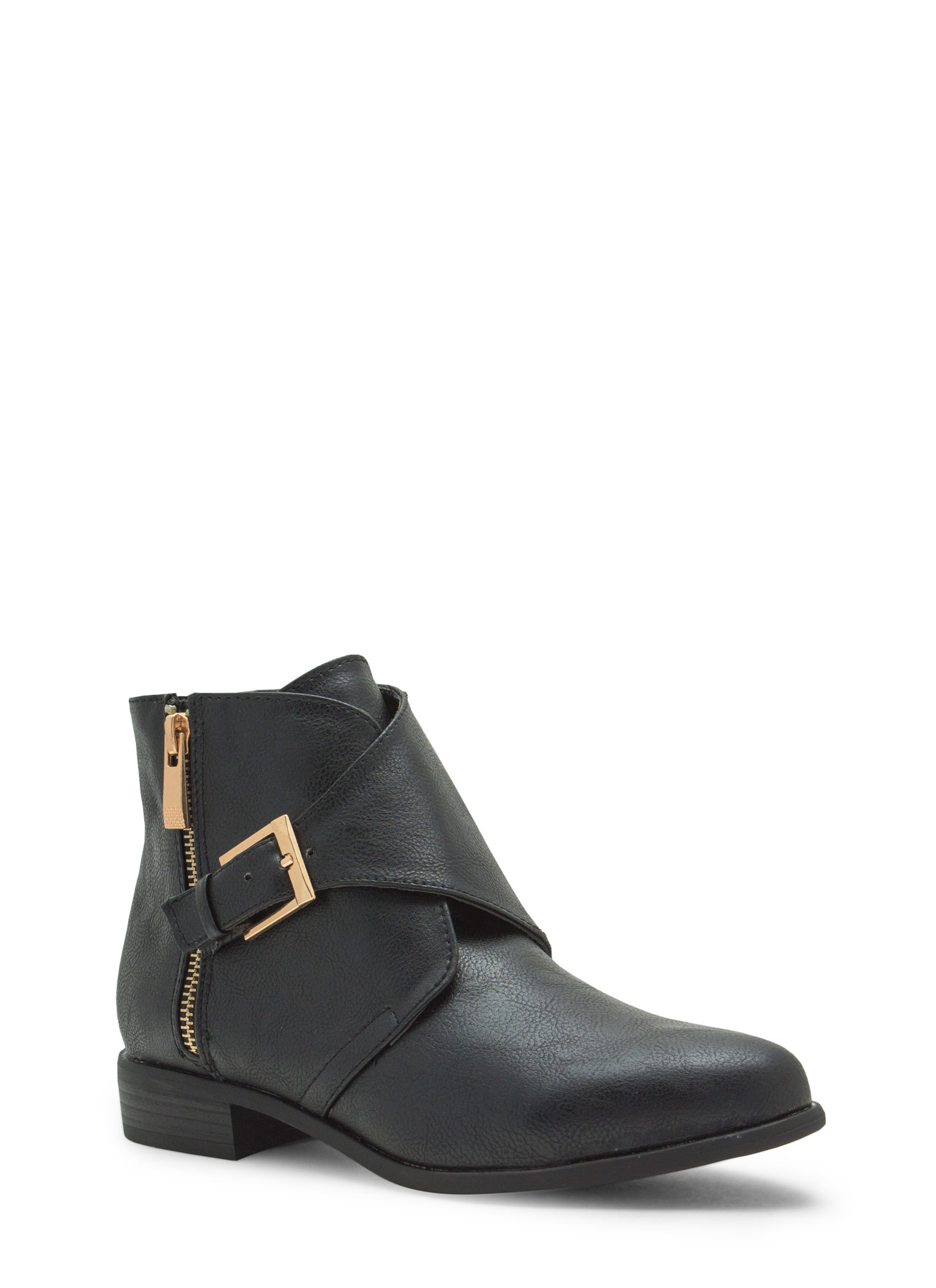 Tough 'N Chic Faux Leather Booties BLACK