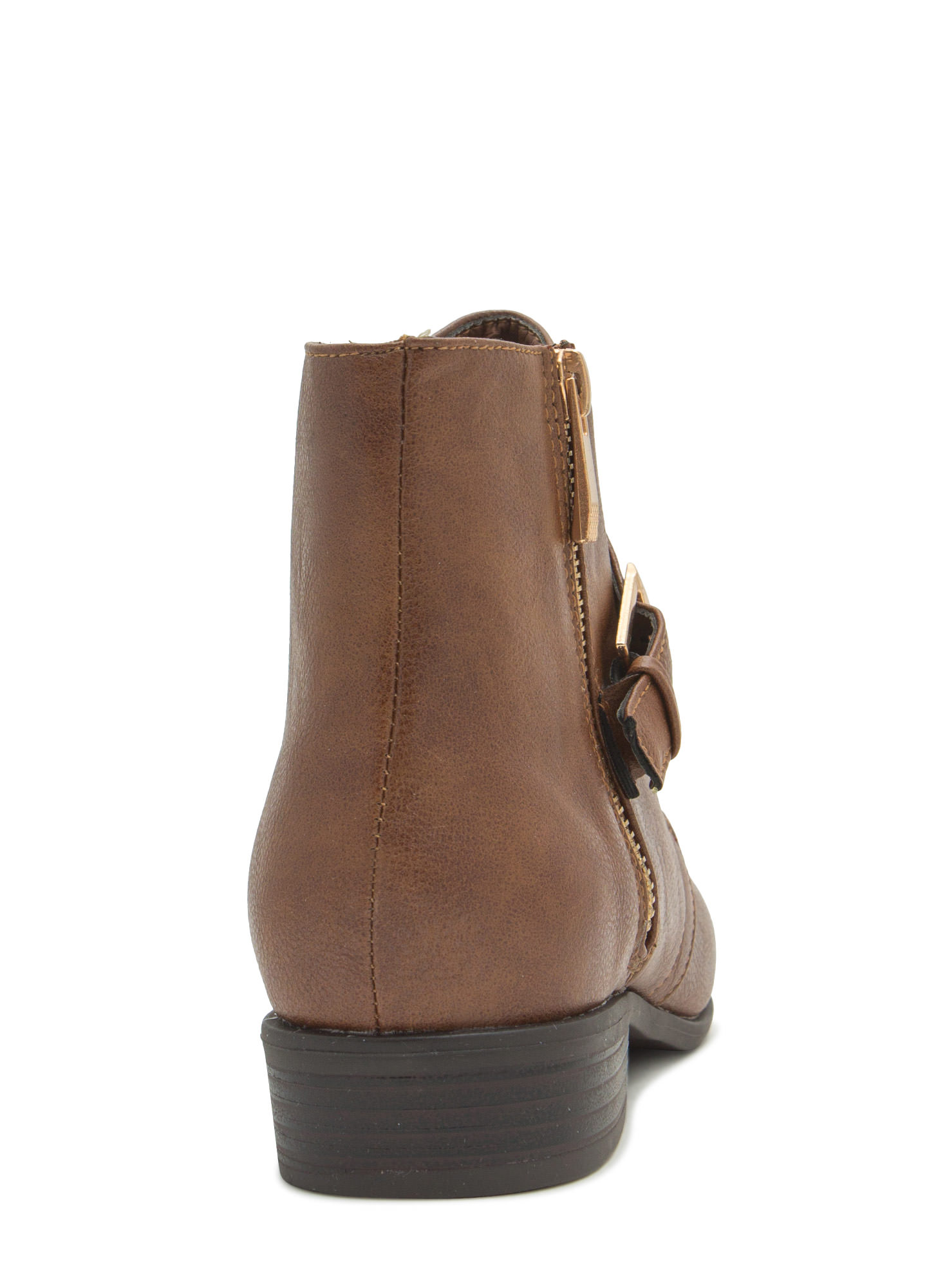 Tough 'N Chic Faux Leather Booties CHESTNUT
