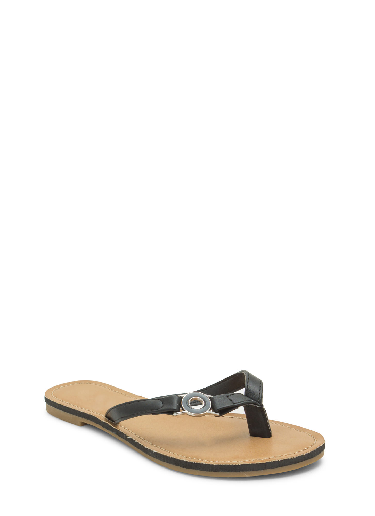 Circle Of Chic Faux Leather Thong Sandals BLACK