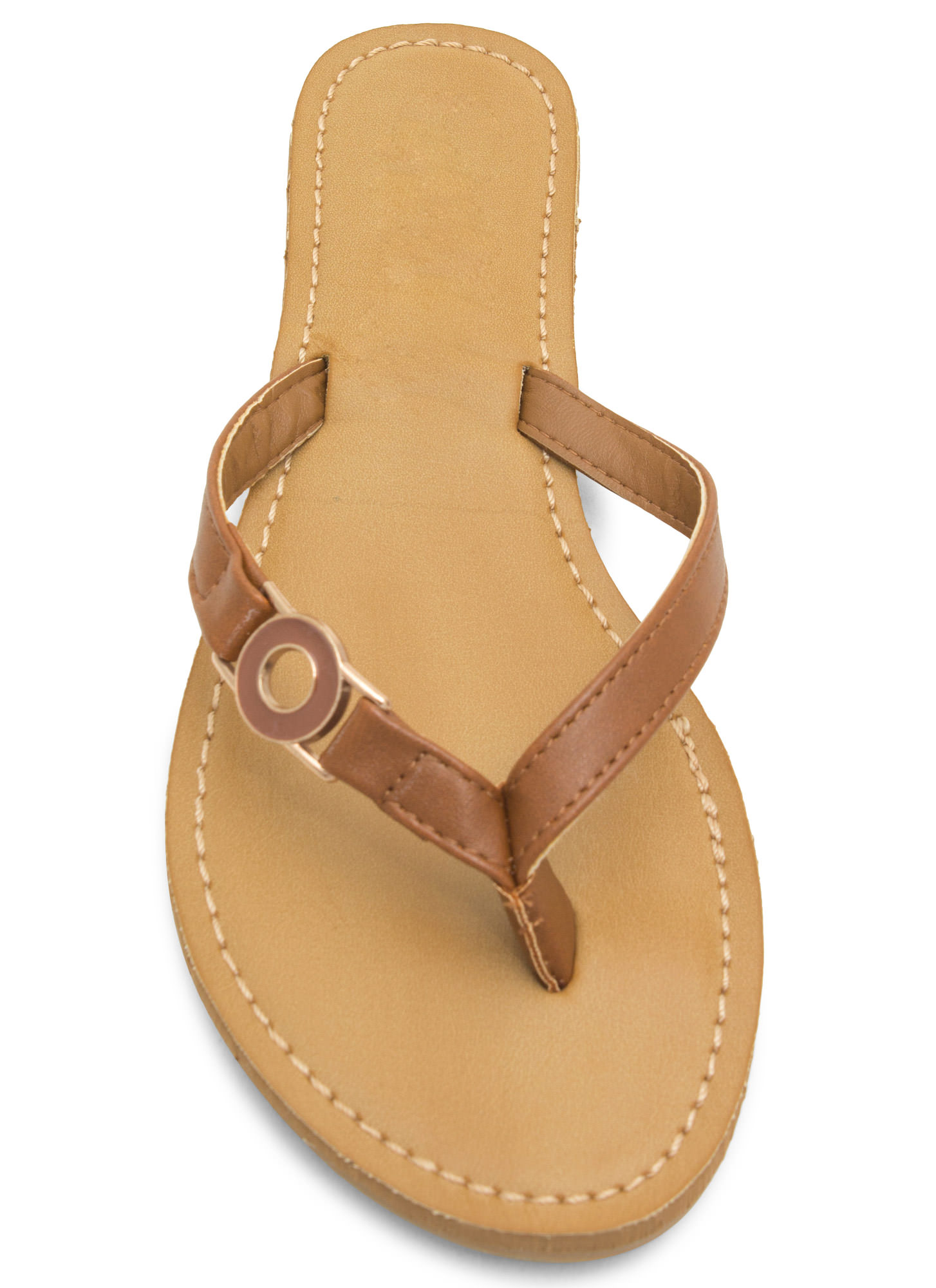 Circle Of Chic Faux Leather Thong Sandals CHESTNUT