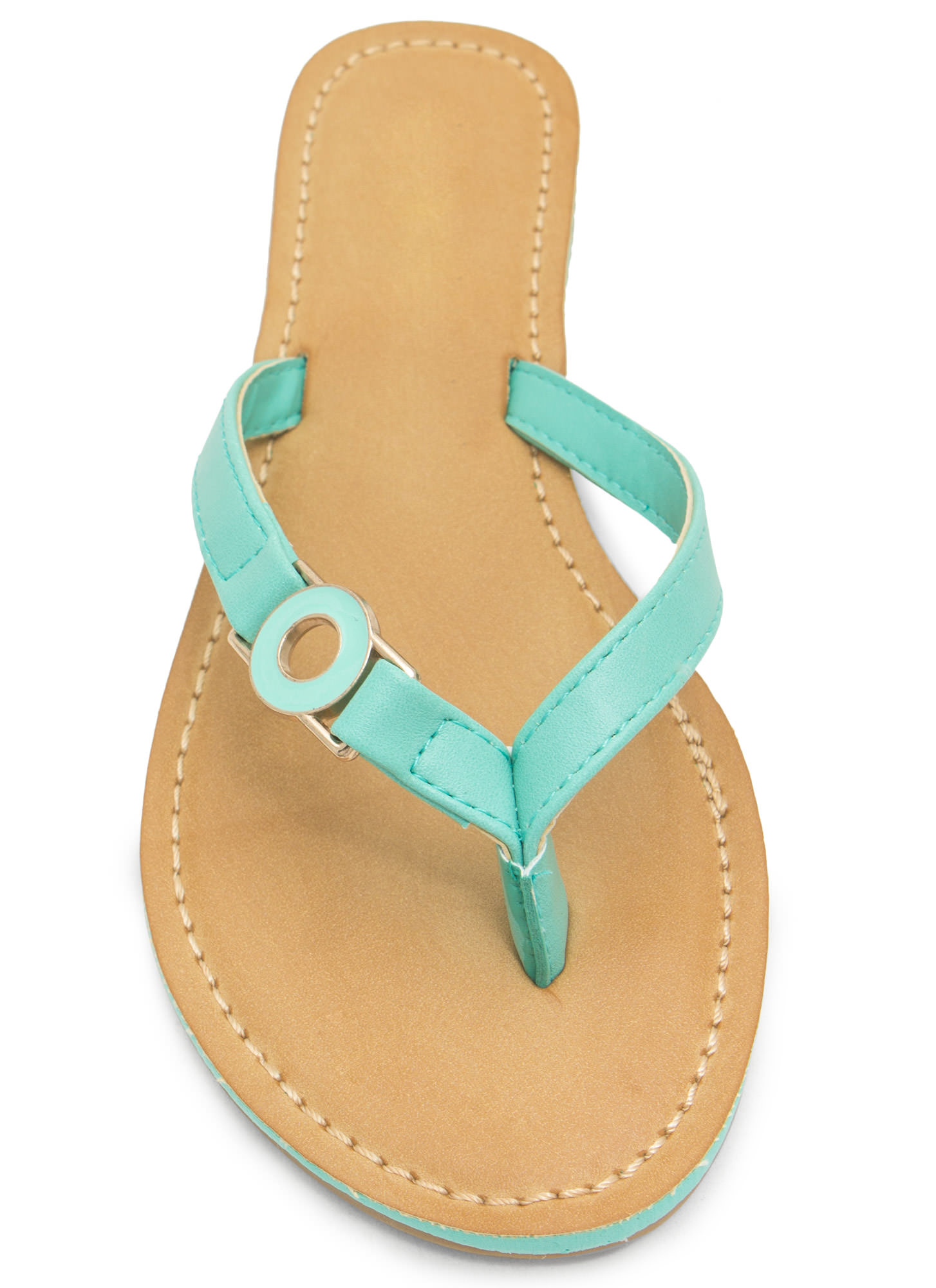 Circle Of Chic Faux Leather Thong Sandals MINT