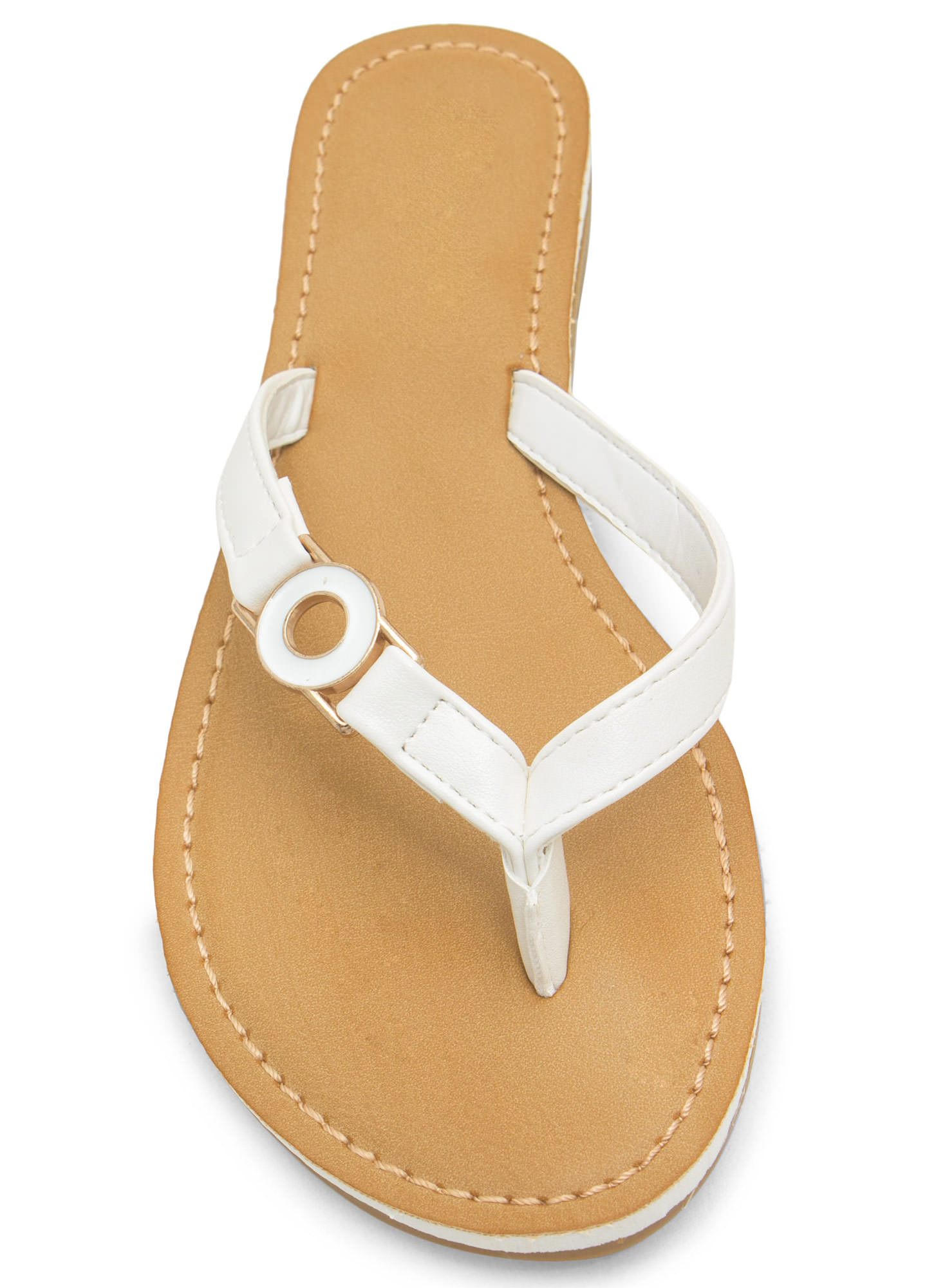 Circle Of Chic Faux Leather Thong Sandals WHITE