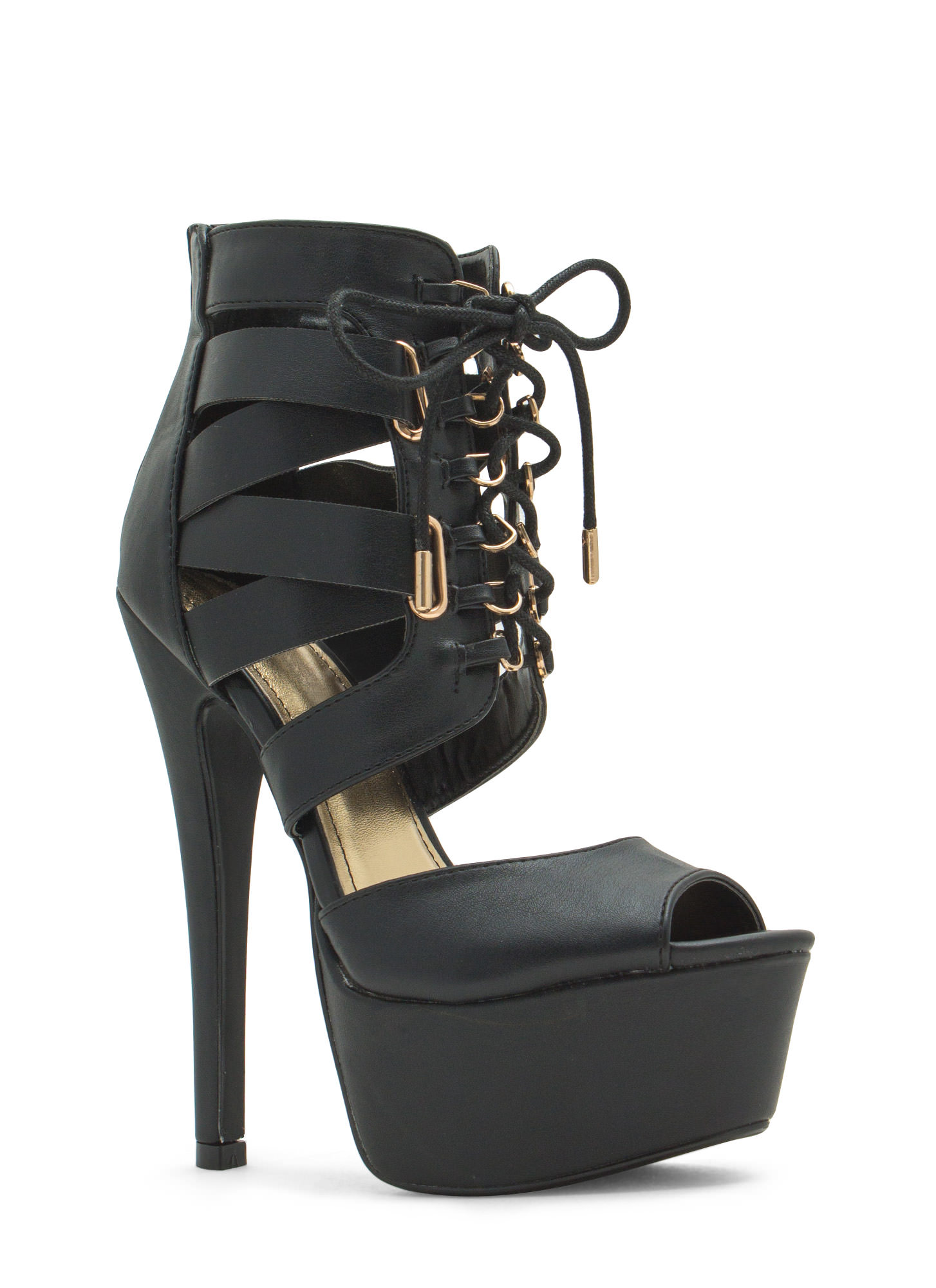 Aim High Lace-Up Platform Heels  BLACK