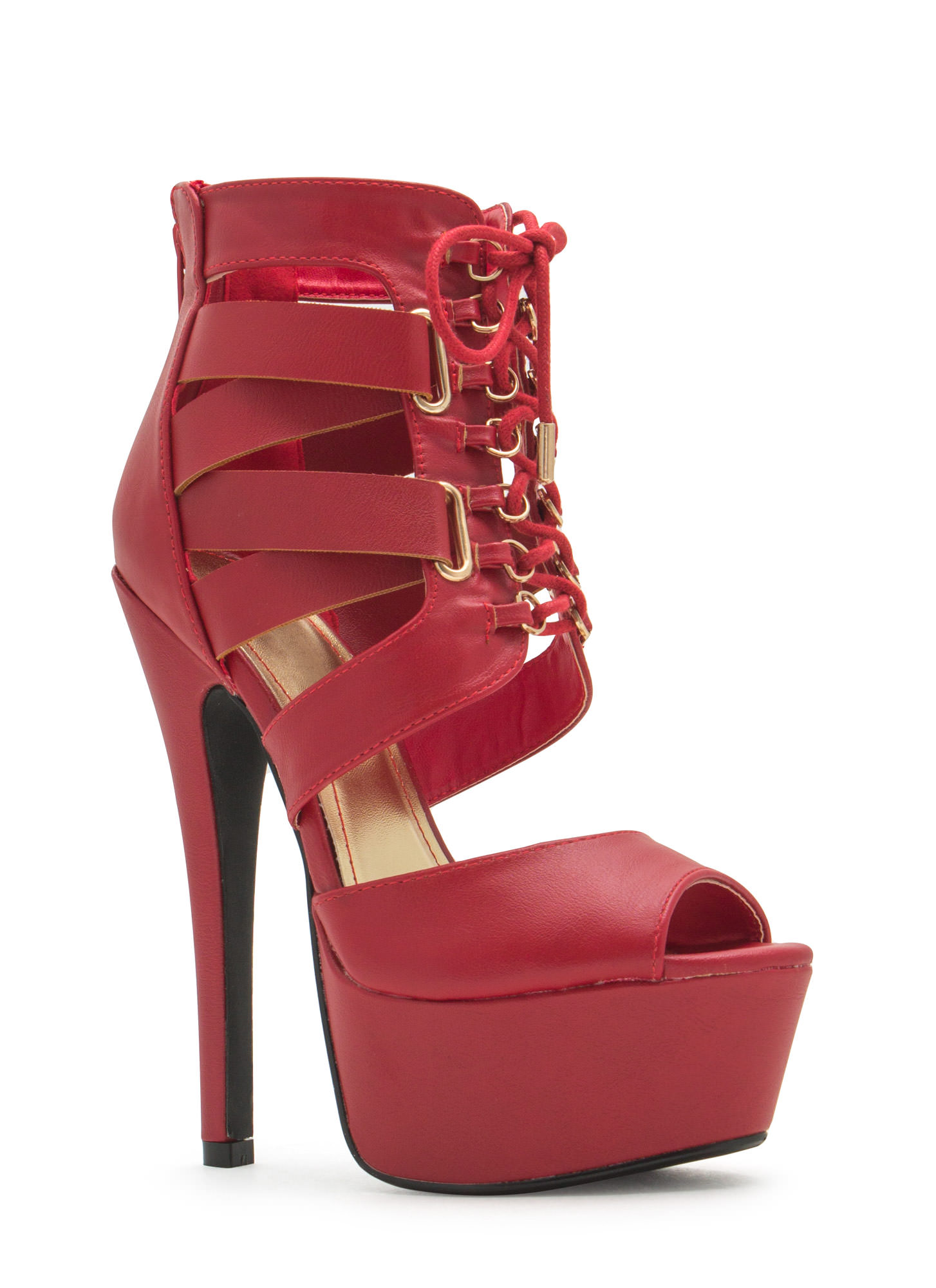 Aim High Lace-Up Platform Heels  RED