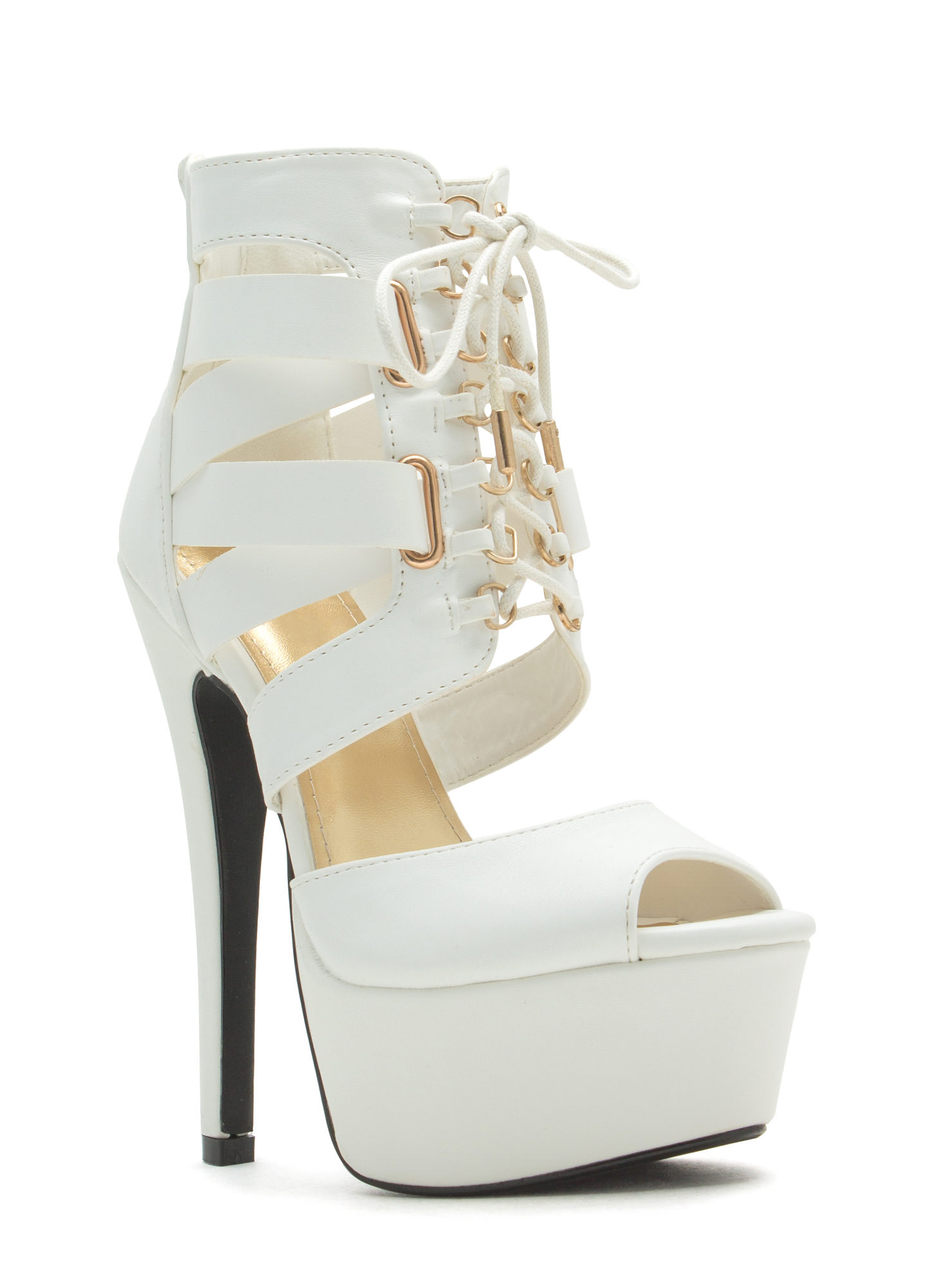 Aim High Lace-Up Platform Heels  WHITE