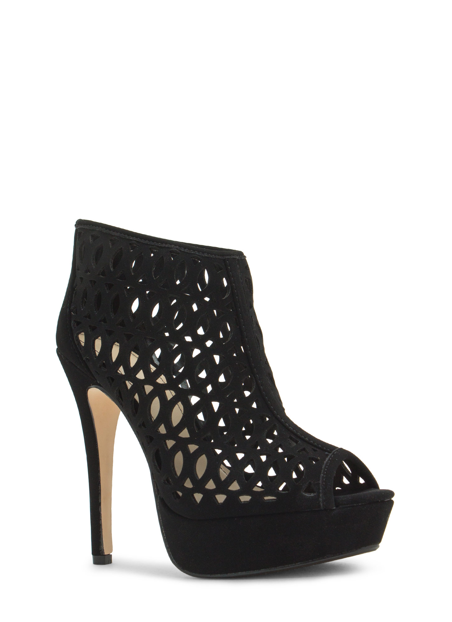 See You Lattice Laser Cut-Out Heels BLACK