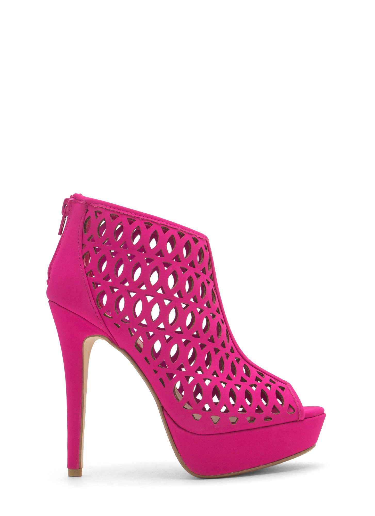 See You Lattice Laser Cut-Out Heels MAGENTA