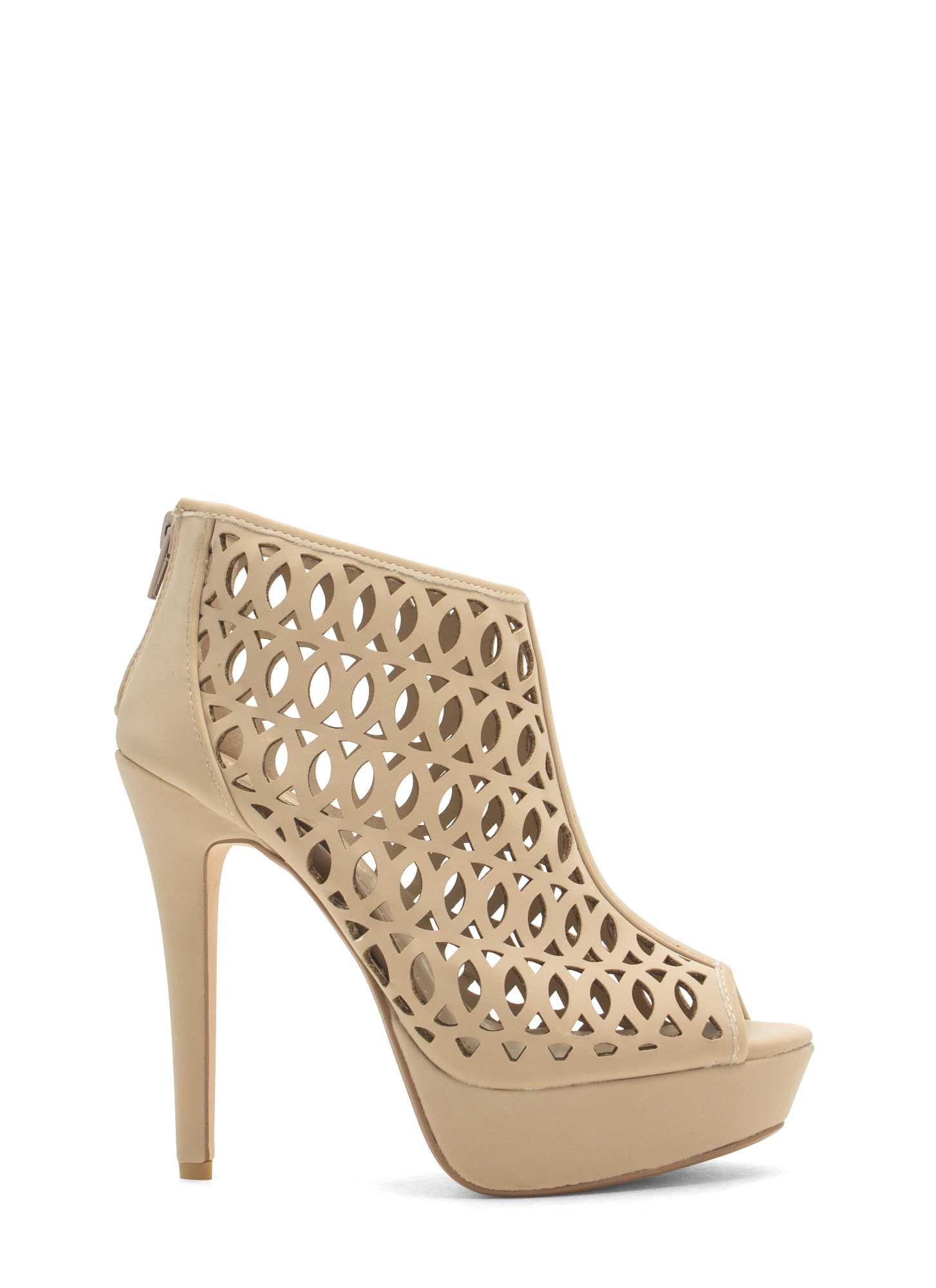 See You Lattice Laser Cut-Out Heels NUDE