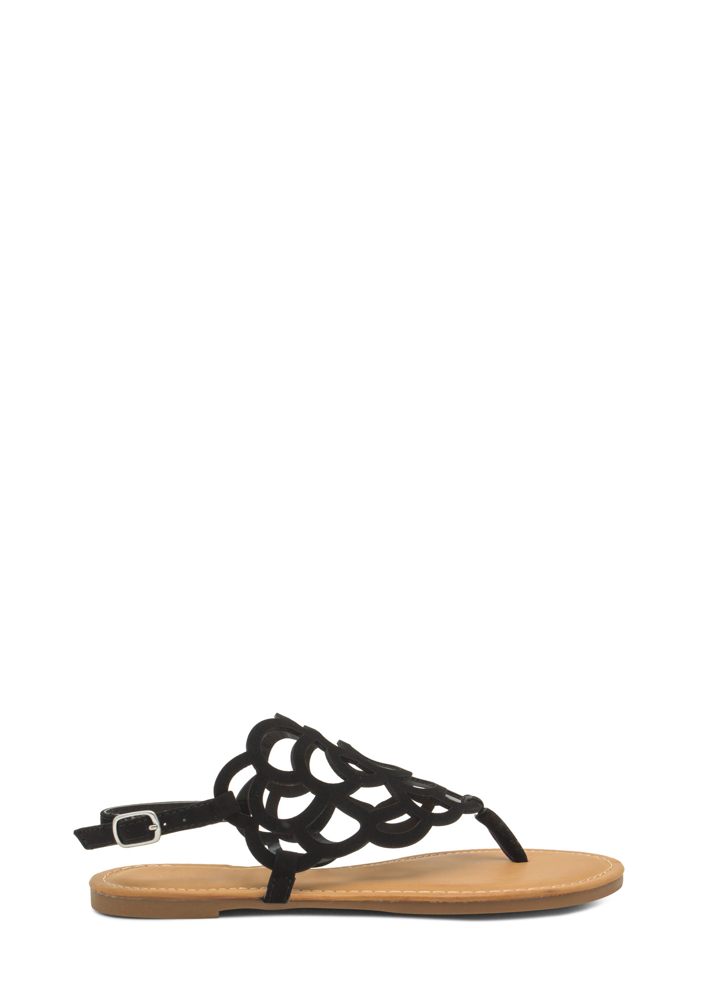 Power Of Flowers Laser Cut-Out Sandals BLACK