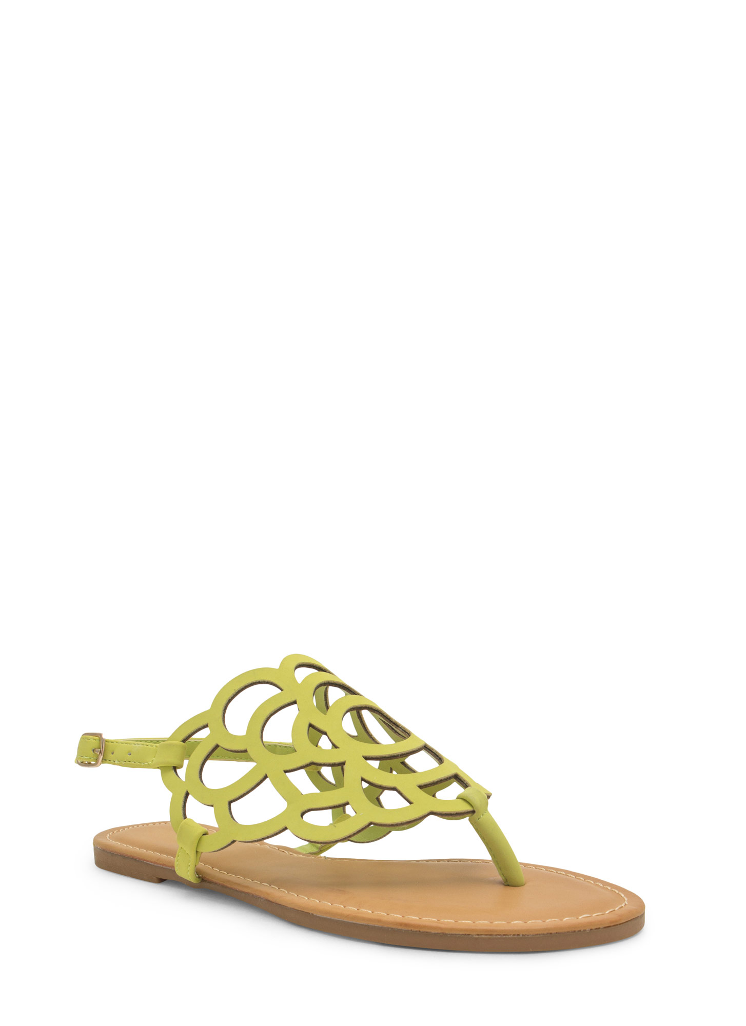 Power Of Flowers Laser Cut-Out Sandals LIME