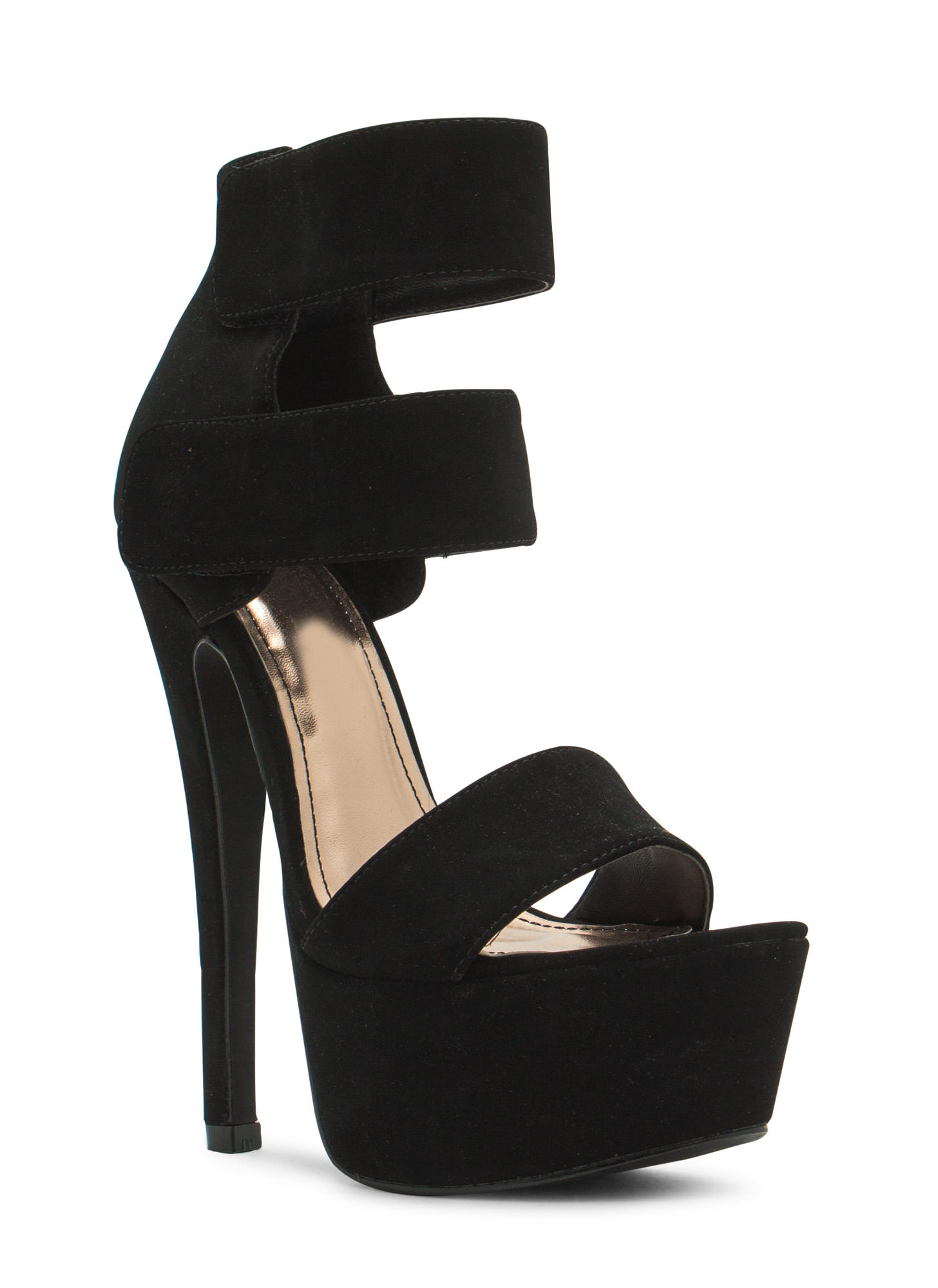 Double Trouble Strappy Platform Heels BLACK