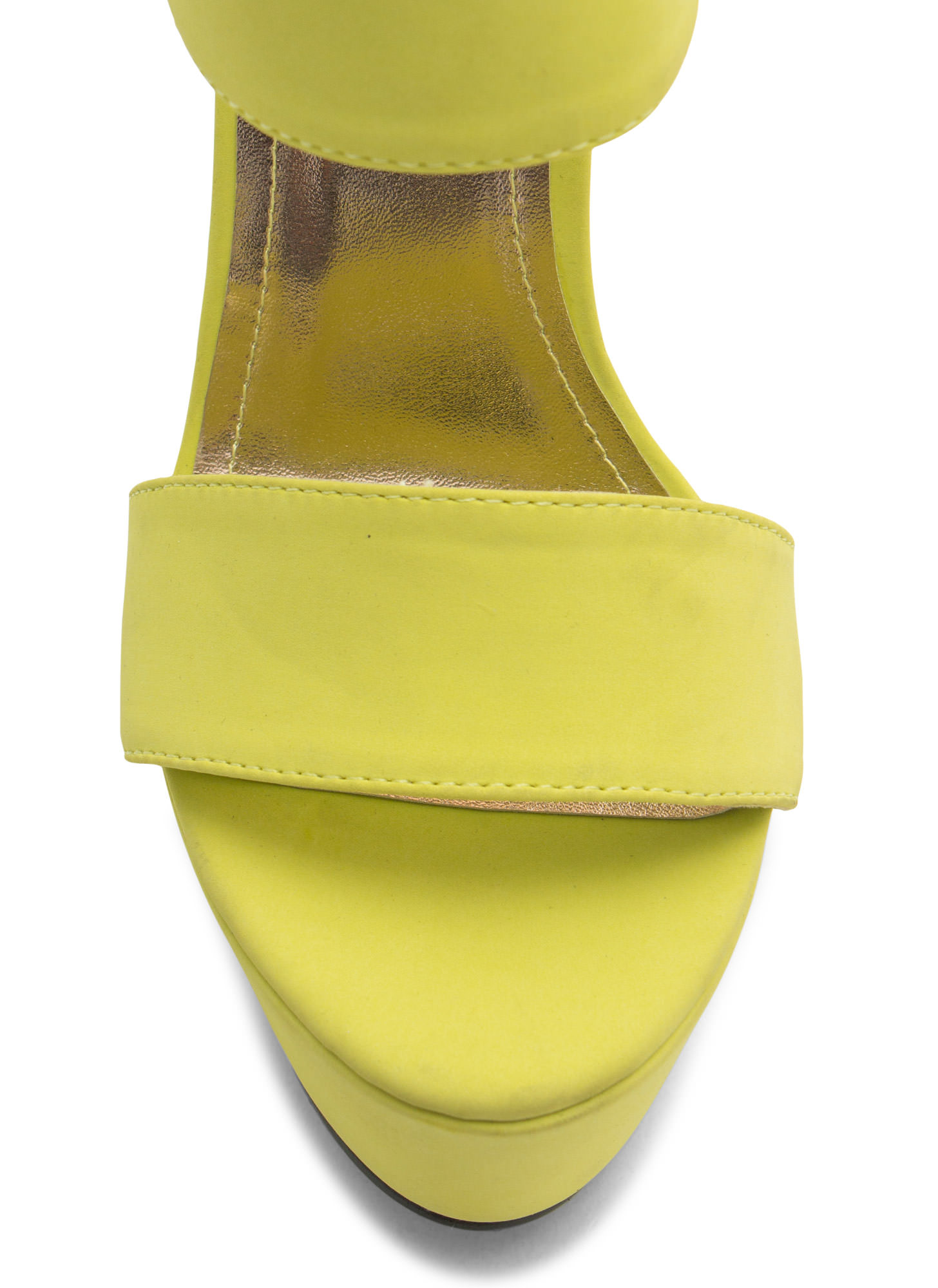 Double Trouble Strappy Platform Heels LIME