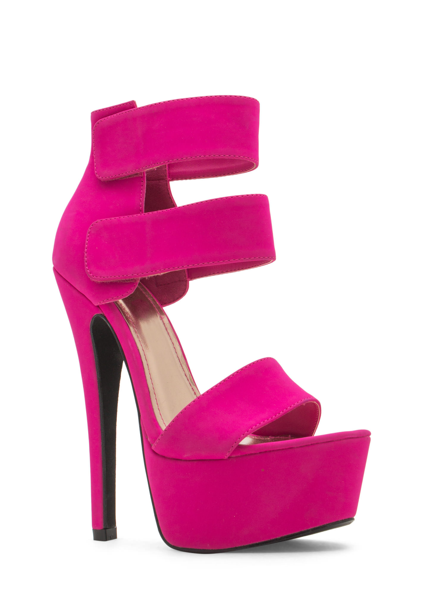 Double Trouble Strappy Platform Heels MAGENTA