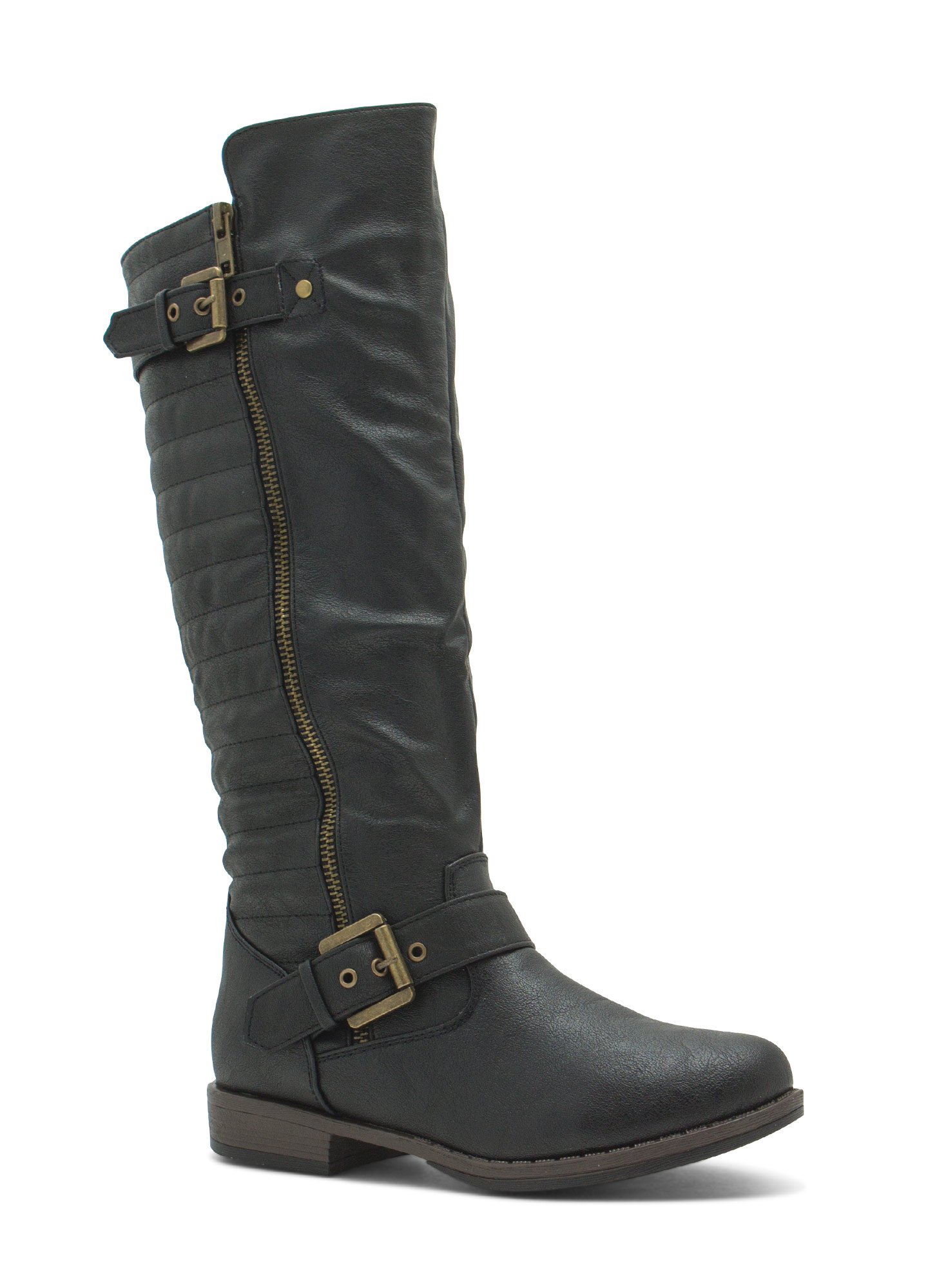 Ur Invited Faux Leather Moto Boots BLACK