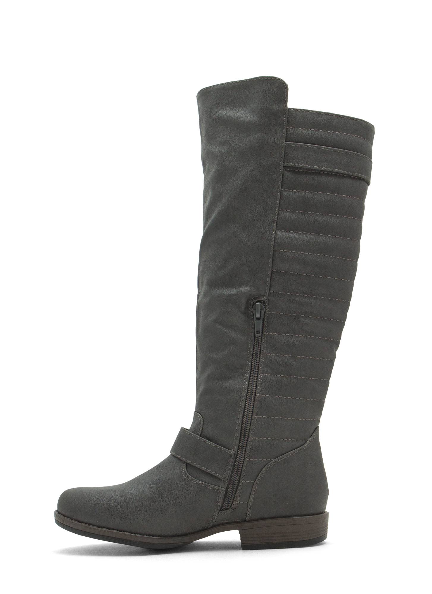 Ur Invited Faux Leather Moto Boots GREY