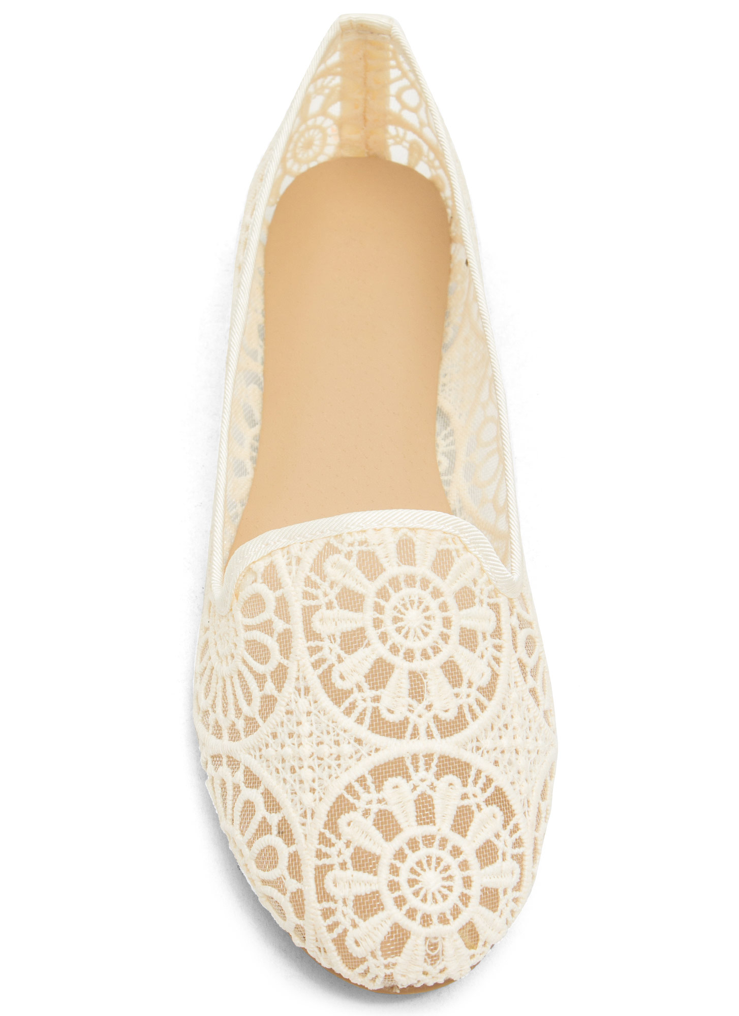 Sheer Competition Lace Smoking Flats BEIGE