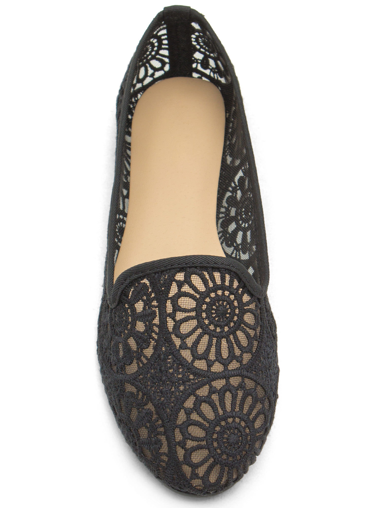 Sheer Competition Lace Smoking Flats BLACK