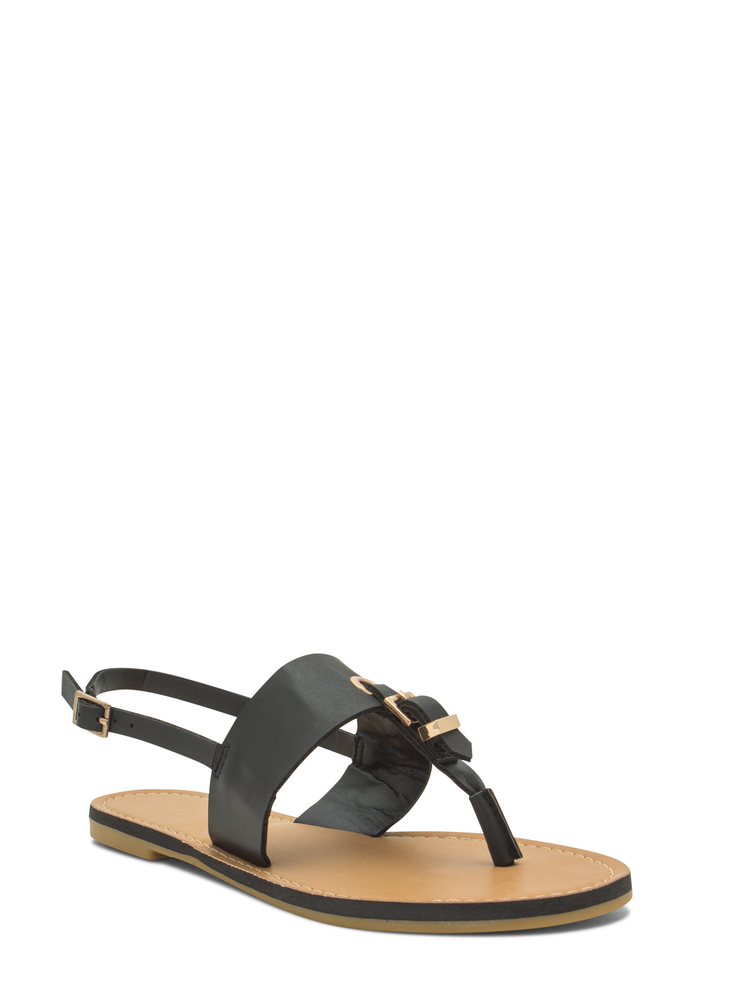All Buckled In Faux Leather Thong Sandals BLACK