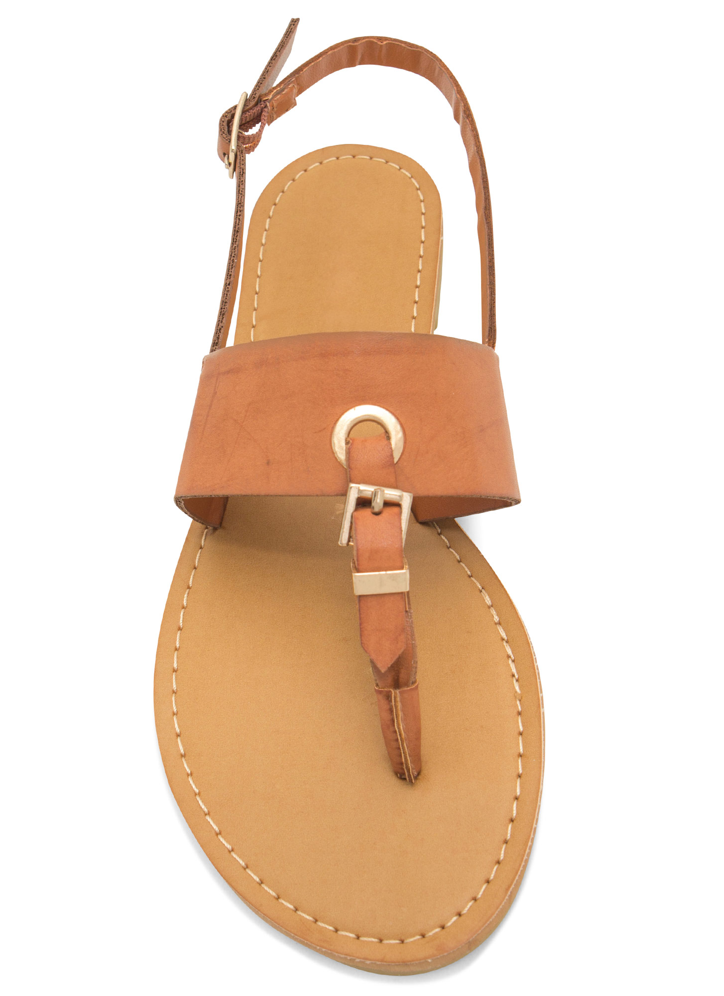 All Buckled In Faux Leather Thong Sandals CHESTNUT