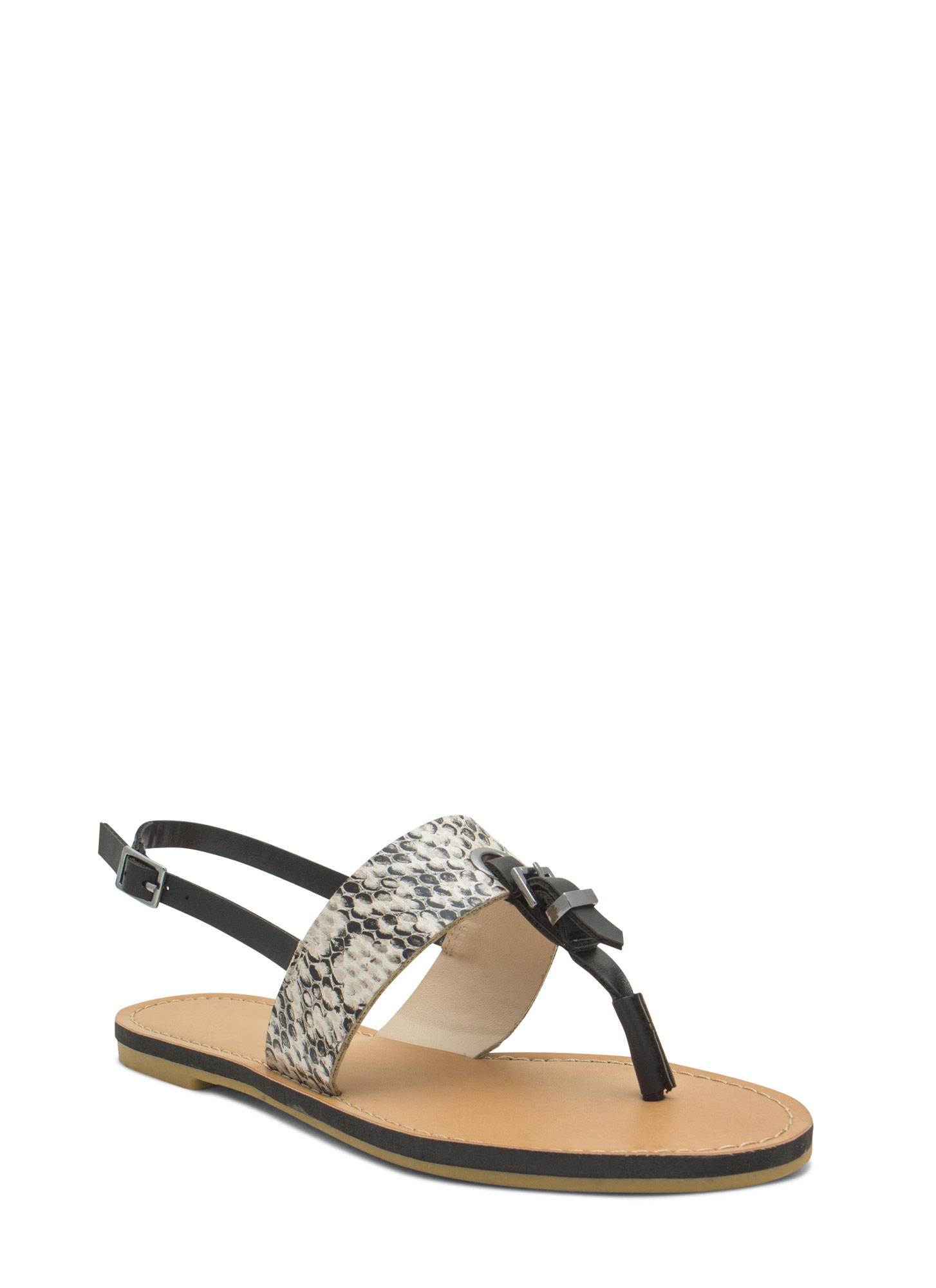 All Buckled In Faux Leather Thong Sandals NATURAL