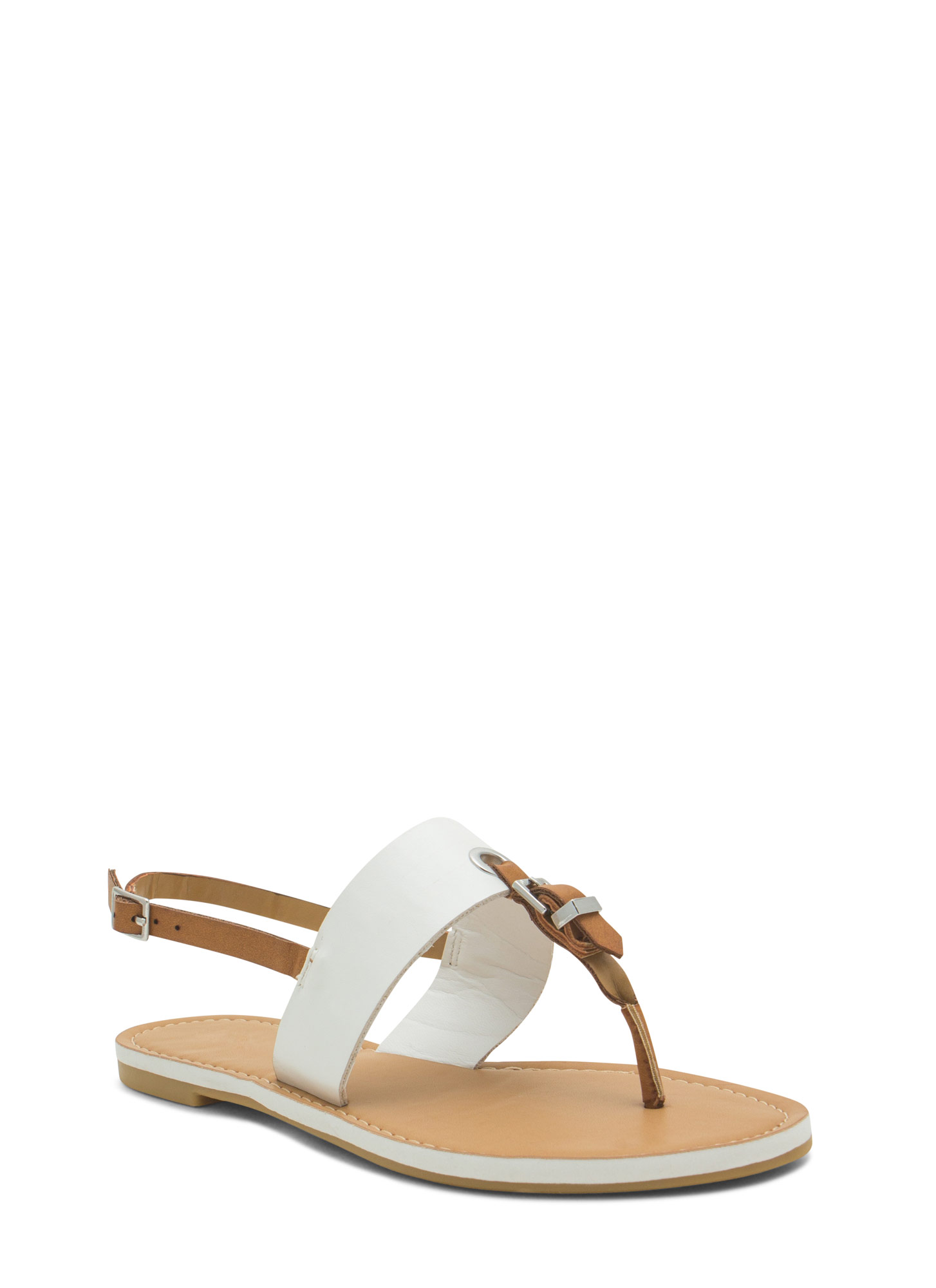 All Buckled In Faux Leather Thong Sandals WHITE