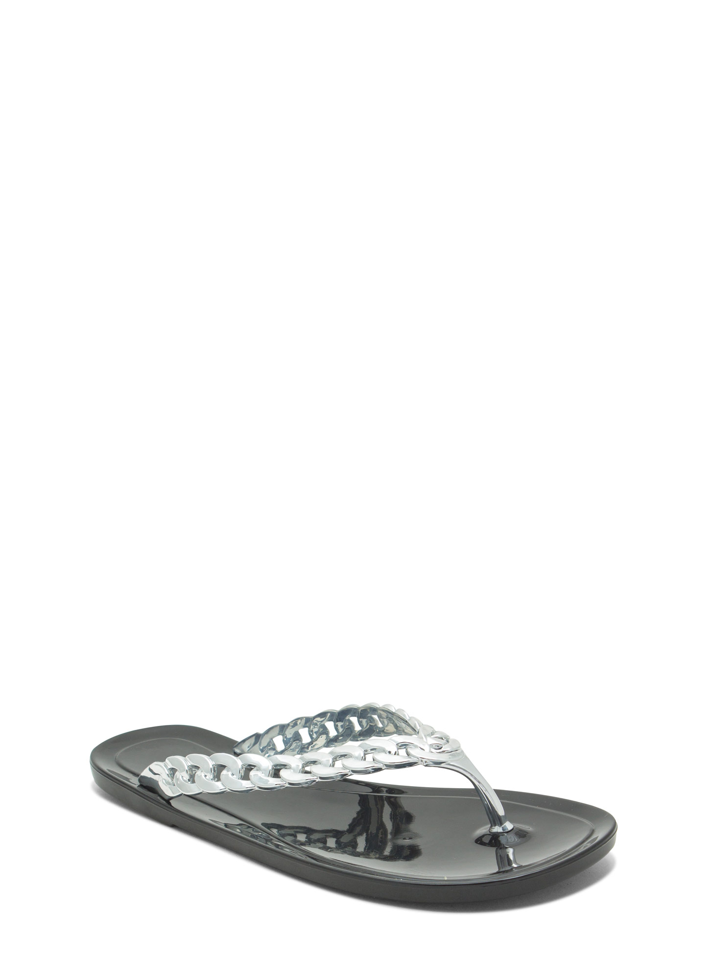 Missing Link Jelly Thong Sandals BLACK
