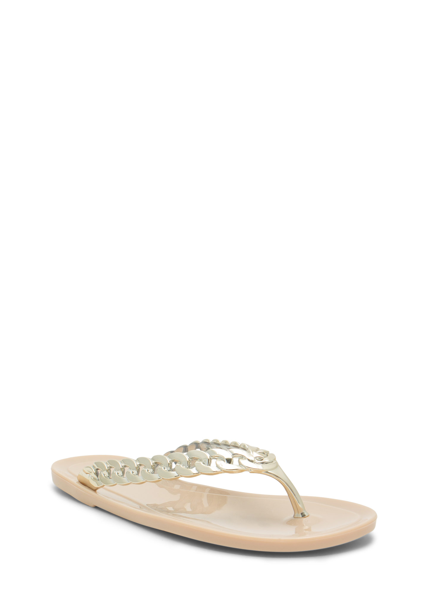 Missing Link Jelly Thong Sandals NUDE