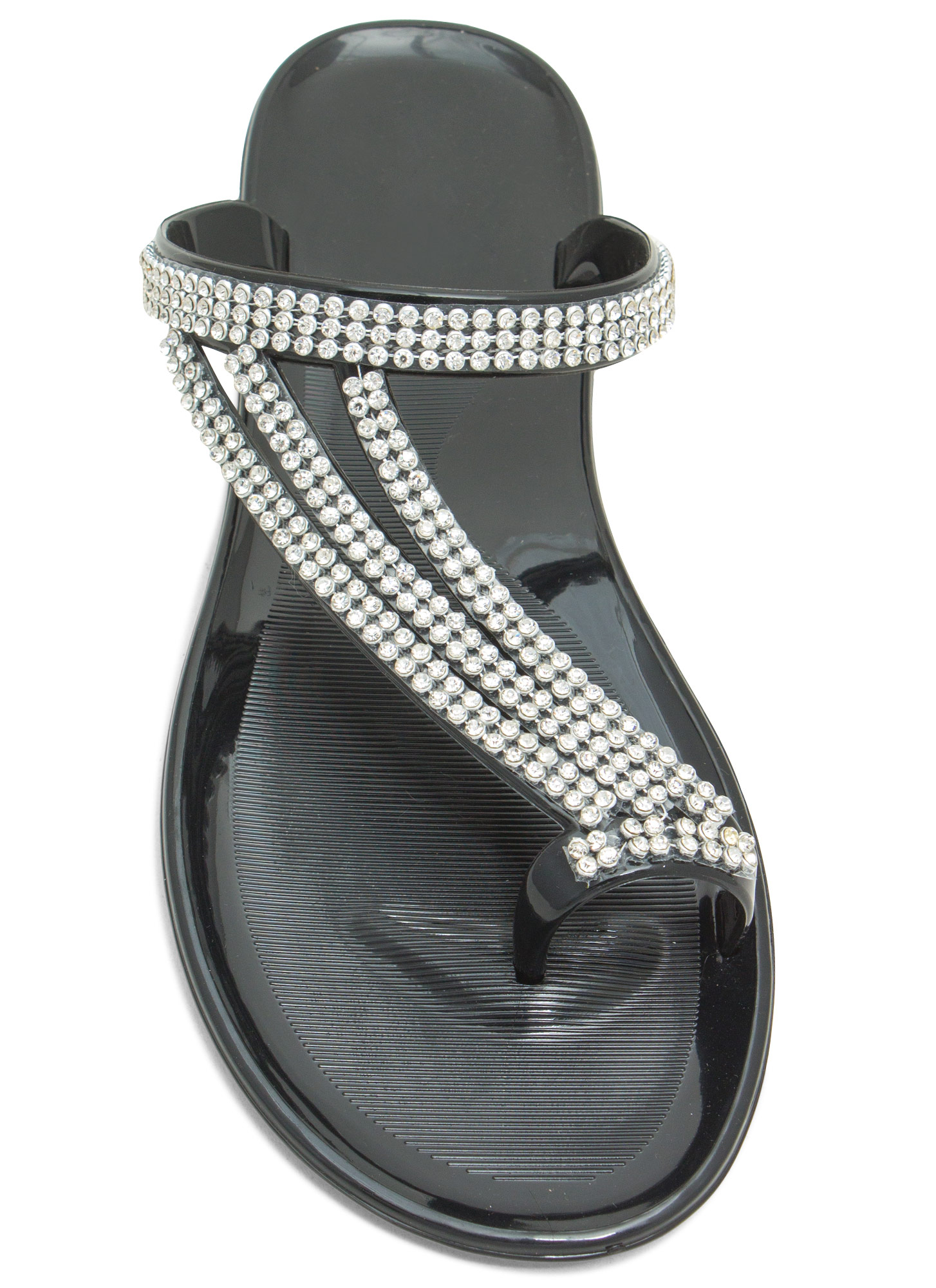 Bling Ringing It Jelly Sandals BLACK