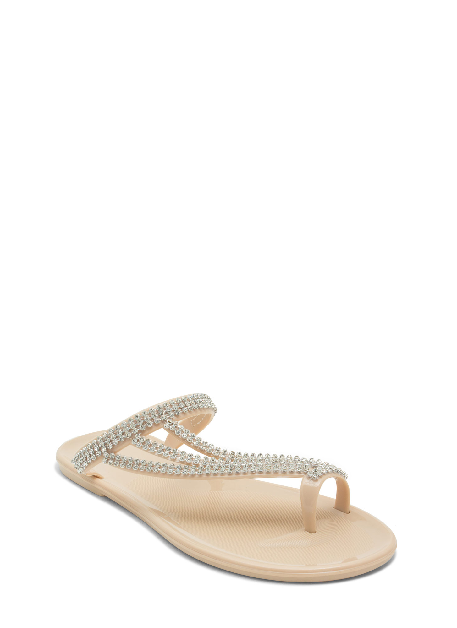 Bling Ringing It Jelly Sandals NUDE