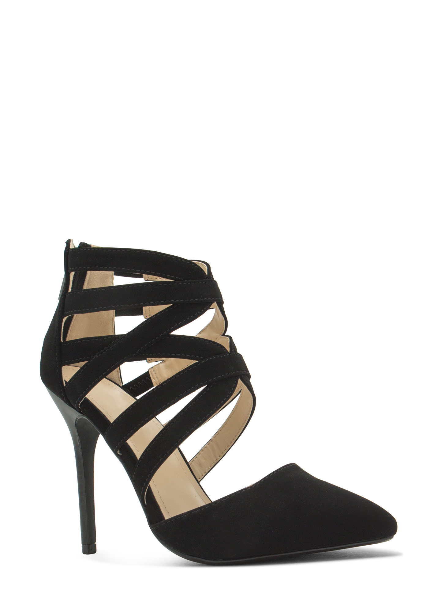 Caged Take Pointy Toe Heels BLACK