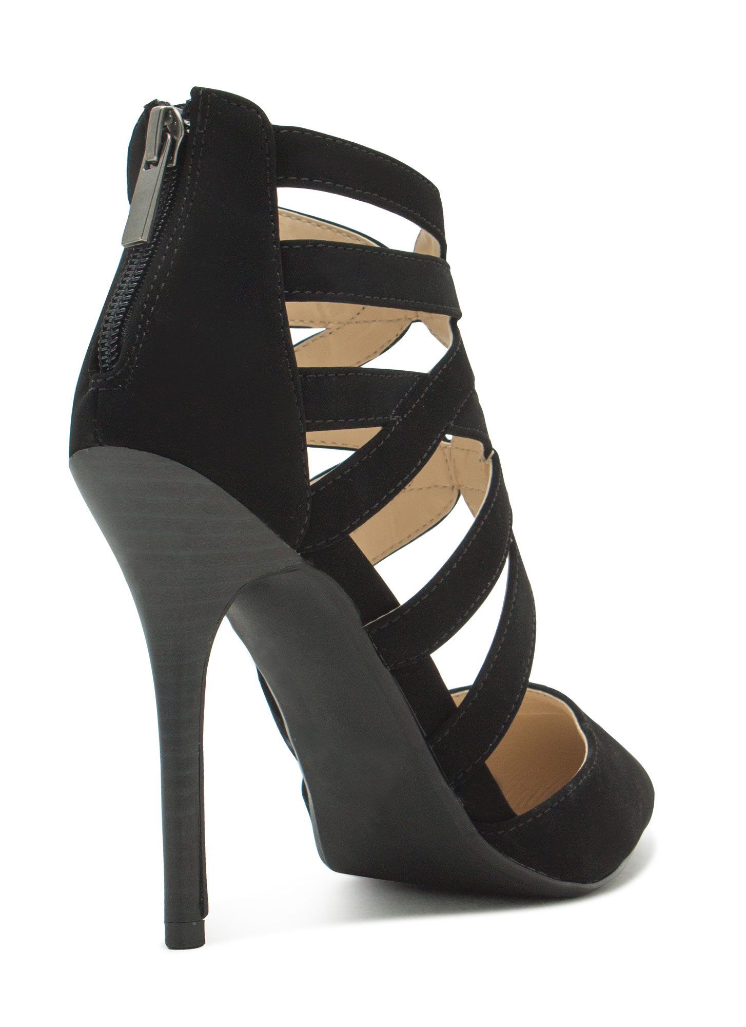 Caged Pointy Toe Heels BLACK