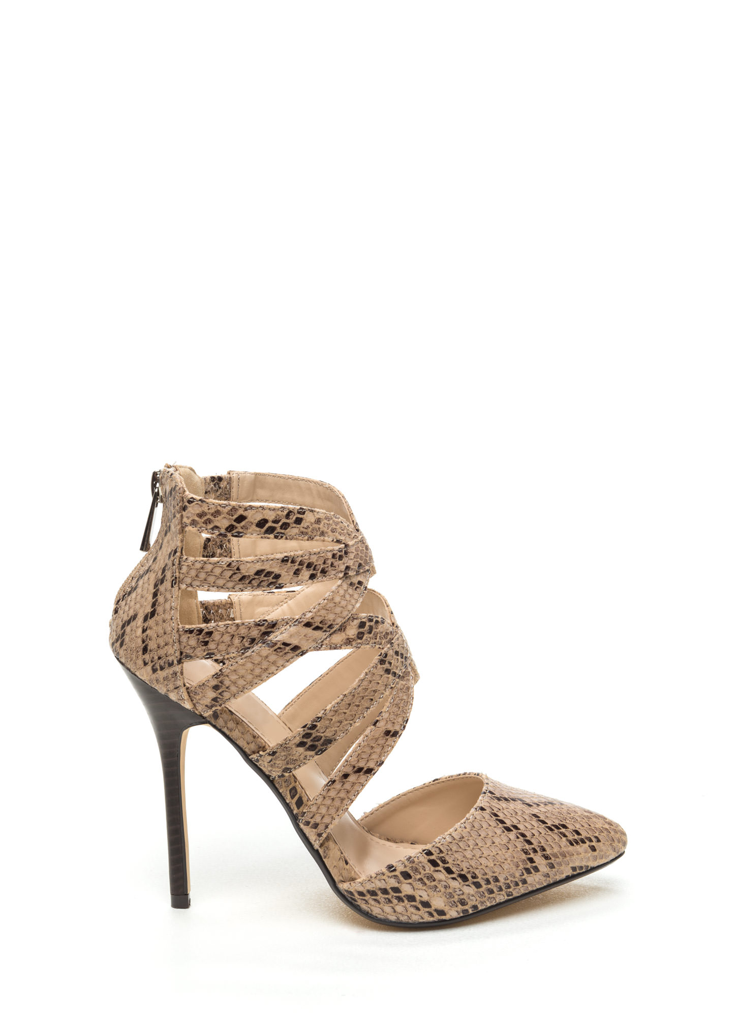 Caged Take Pointy Toe Heels NATURAL