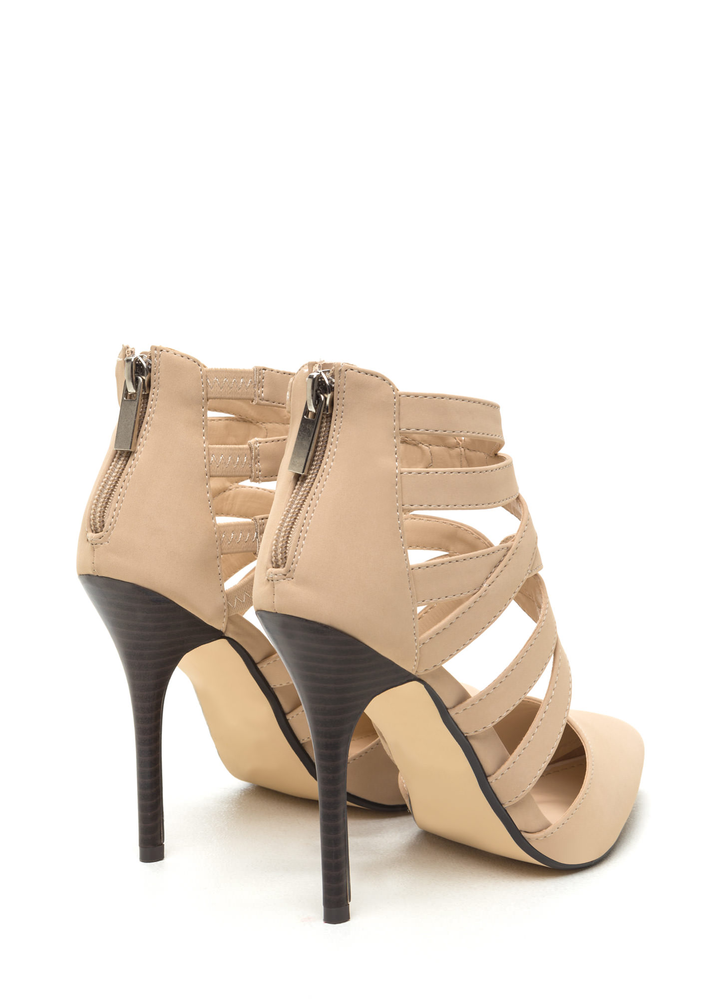 Caged Take Pointy Toe Heels NUDE