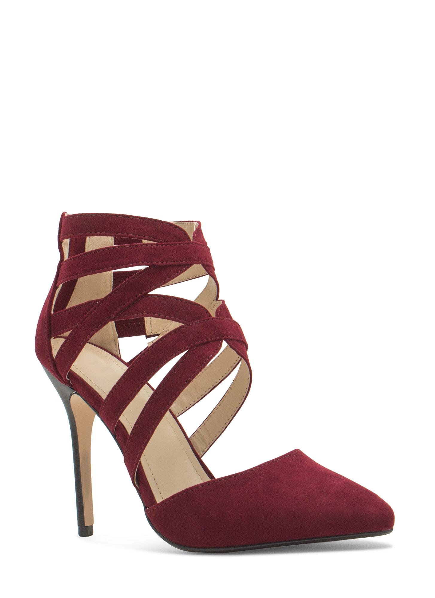 Caged Take Pointy Toe Heels OXBLOOD