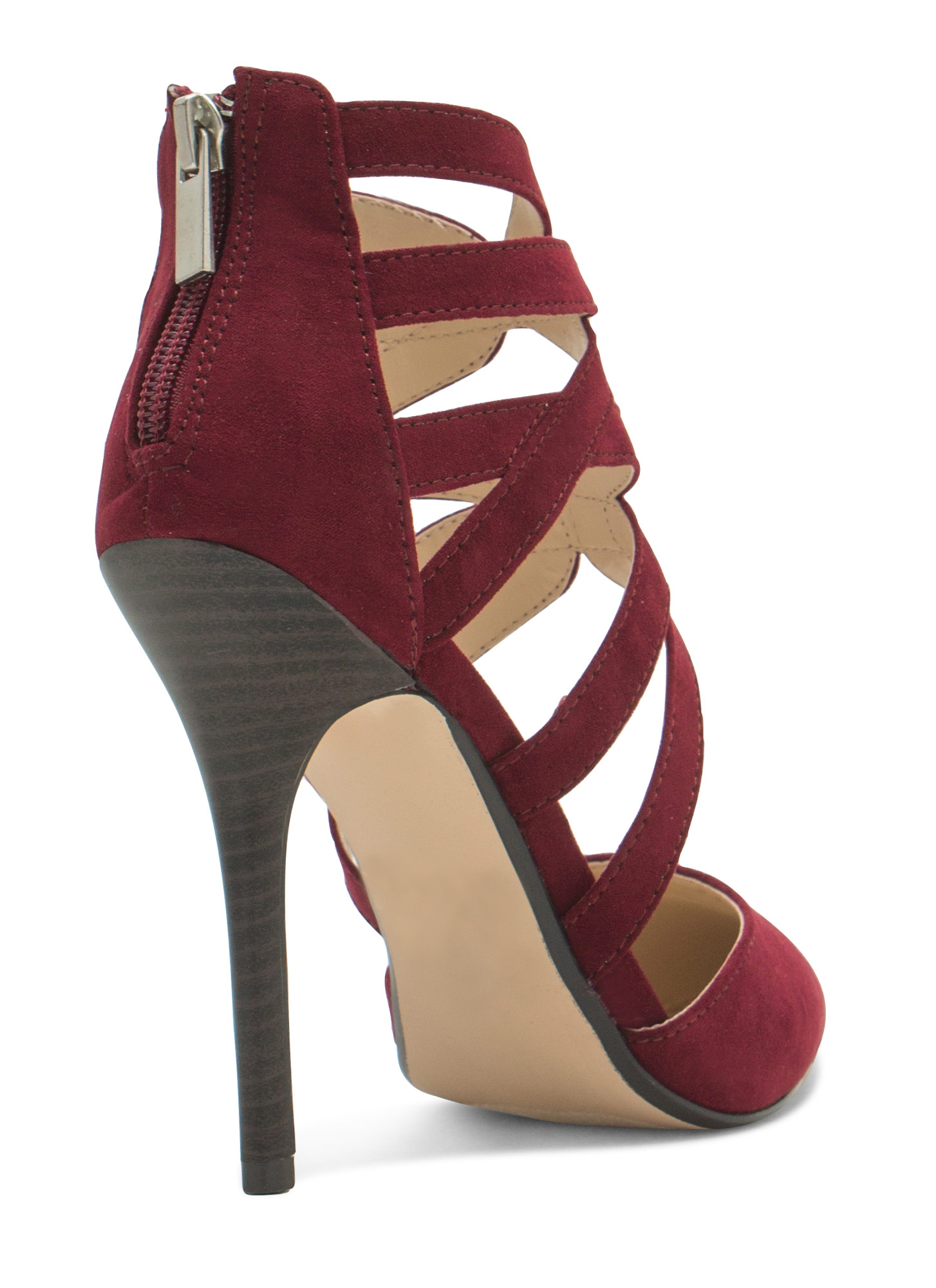 Caged Pointy Toe Heels OXBLOOD