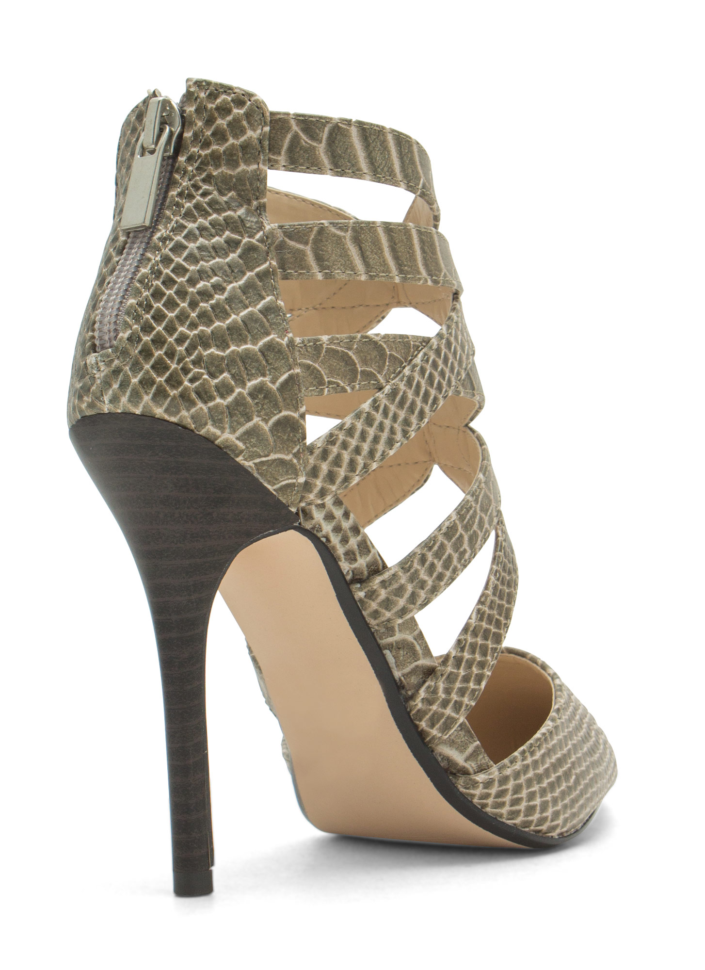 Caged Pointy Toe Heels TAUPE