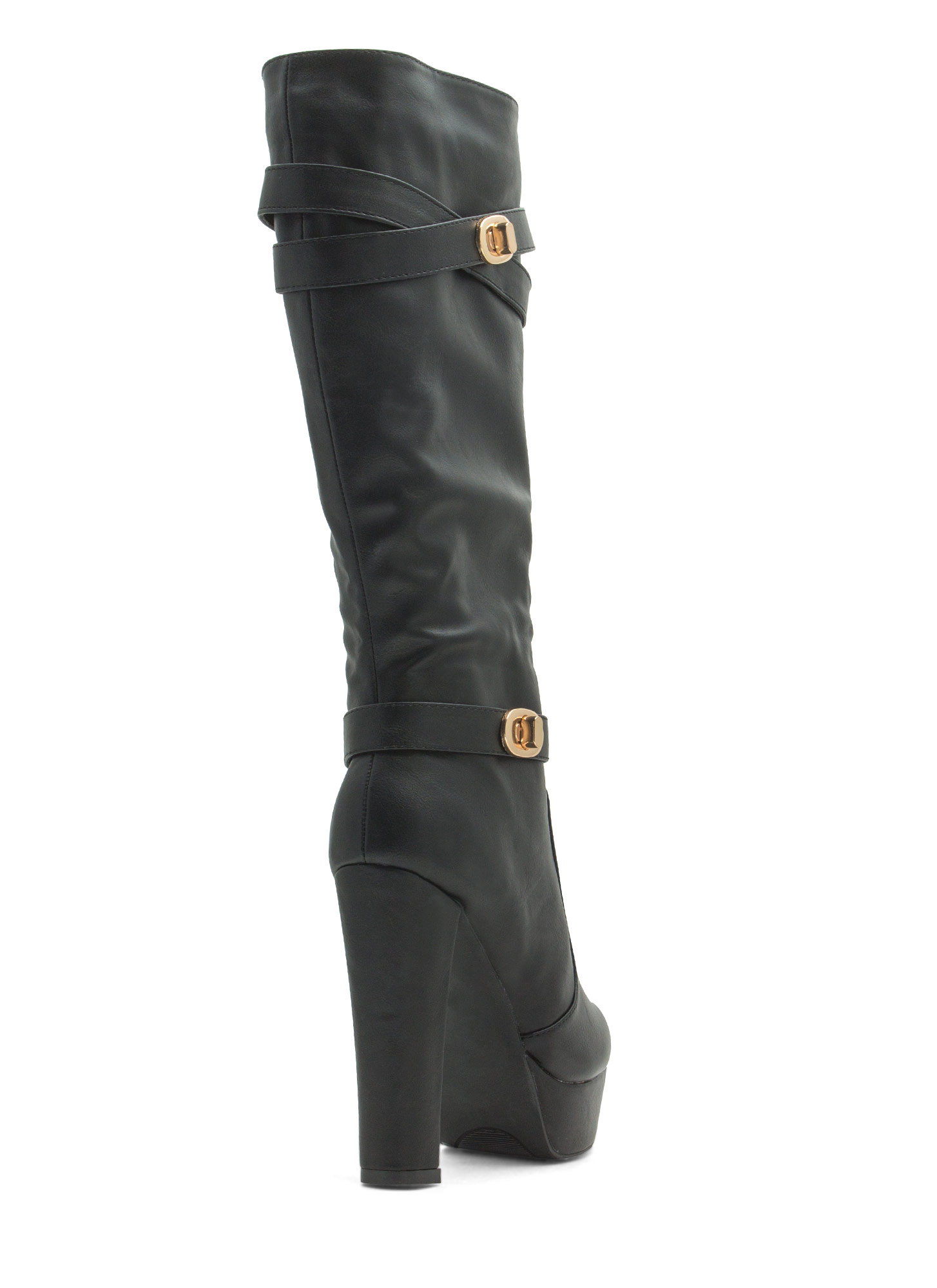 Double Twist Lock Platform Boots BLACK