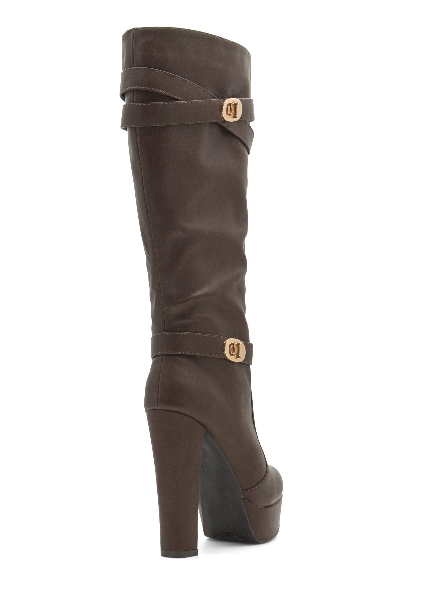 Double Twist Lock Platform Boots BROWN