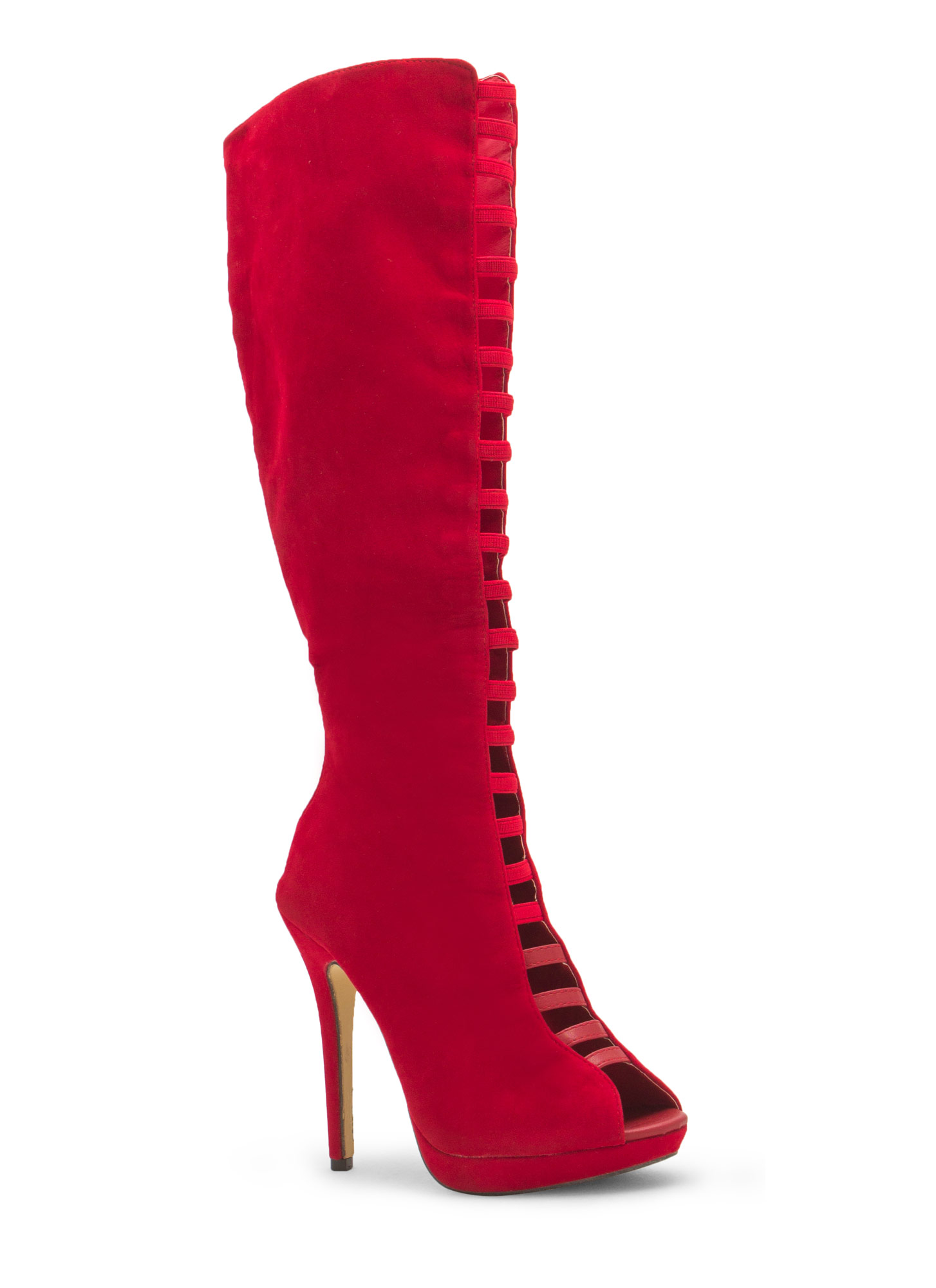 Film Strip Cut-Out Boots RED