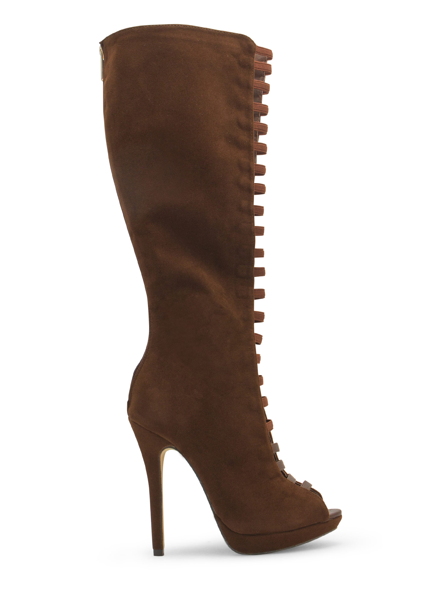 Film Strip Cut-Out Boots TAN
