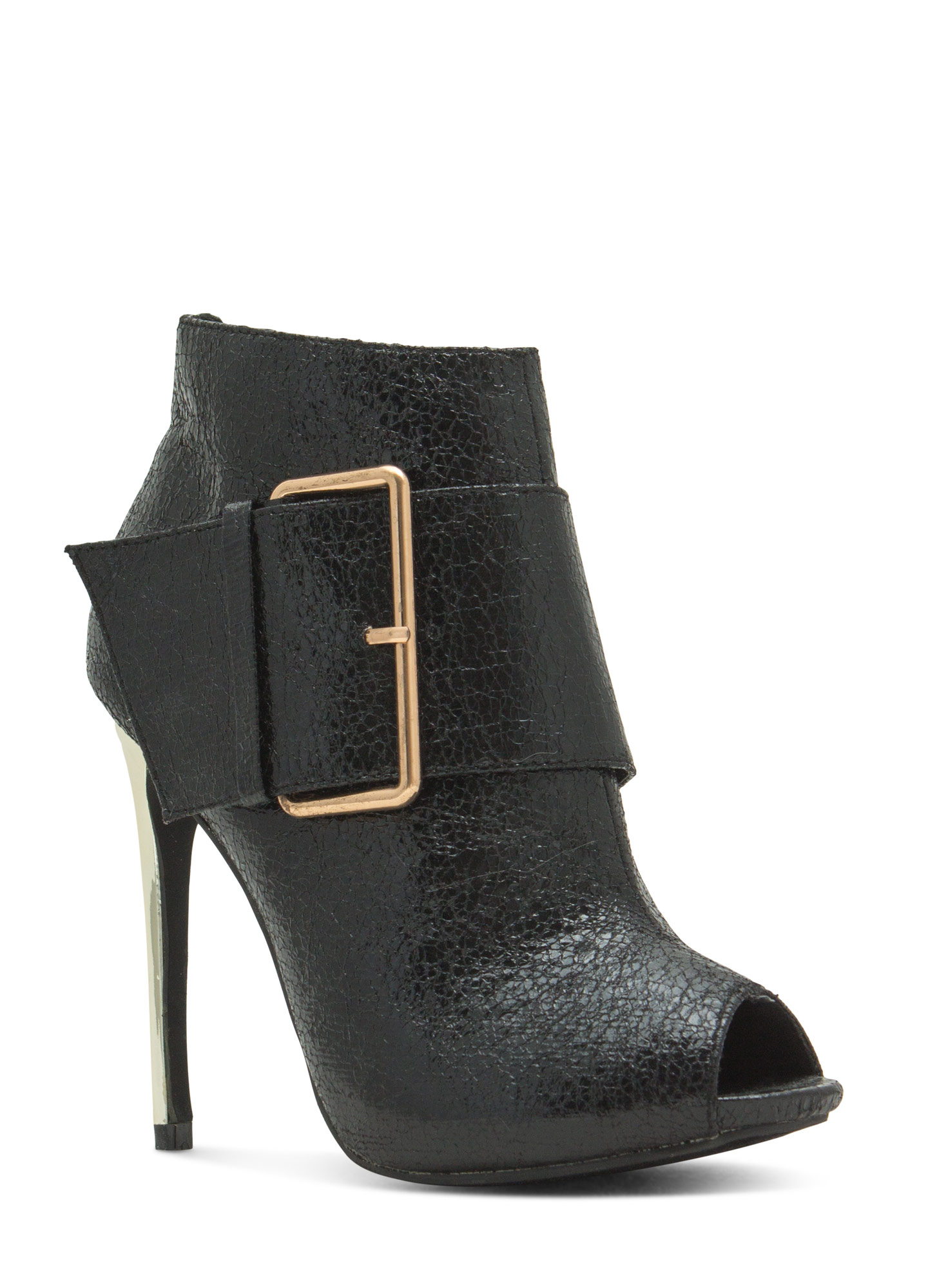 Oversized Buckle Peep-Toe Booties BLACK