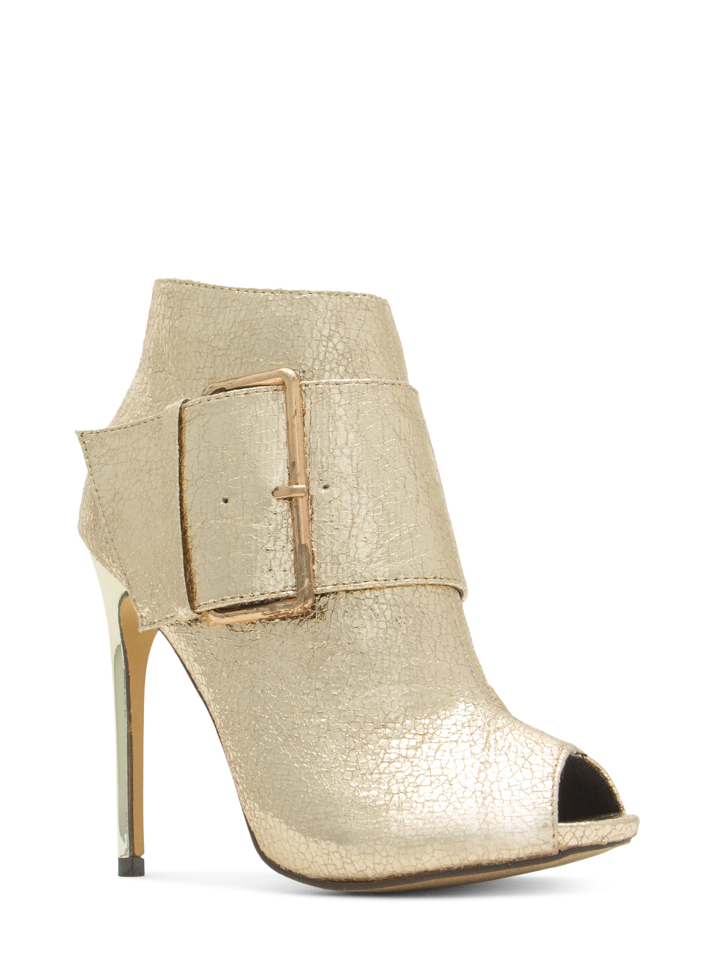 Oversized Buckle Peep-Toe Booties GOLD