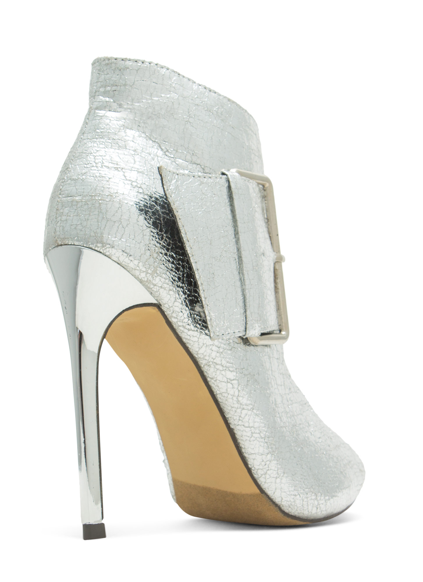 Oversized Buckle Peep-Toe Booties SILVER